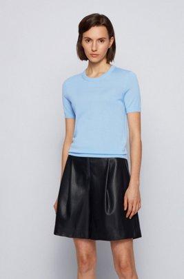 Pull à manches courtes en laine vierge, bleu clair
