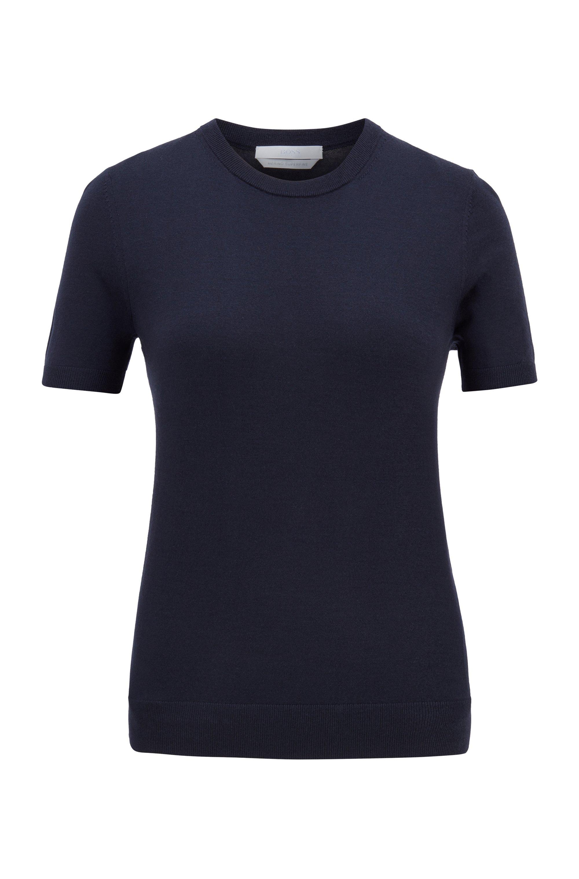 Jersey de manga corta en lana virgen, Azul oscuro