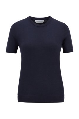 Short-sleeved sweater in virgin wool, Dark Blue