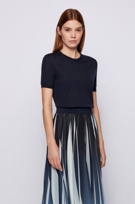 Short-sleeved sweater in virgin wool, Dark Blue