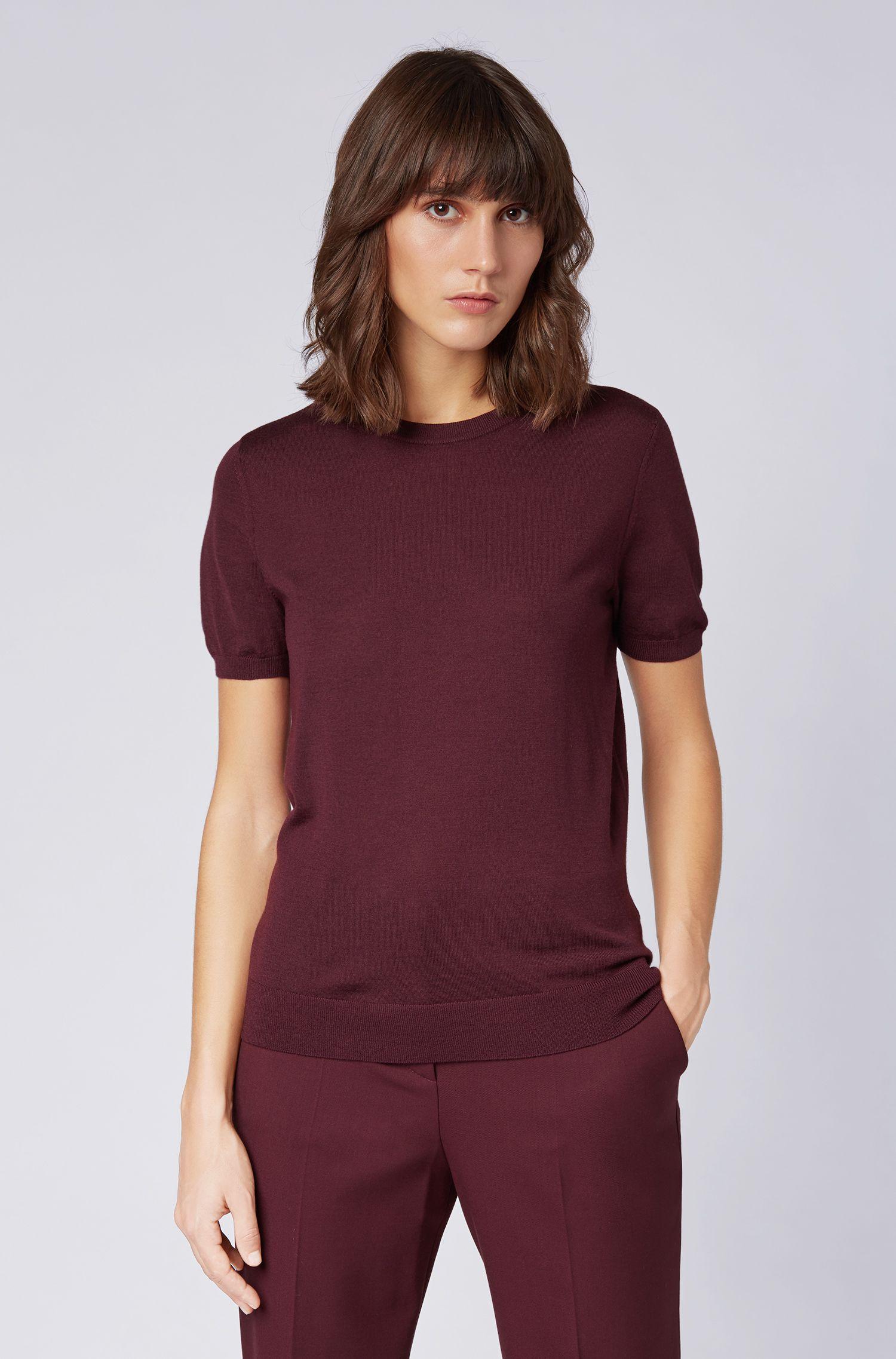 Jersey de manga corta en lana virgen, Rosa oscuro
