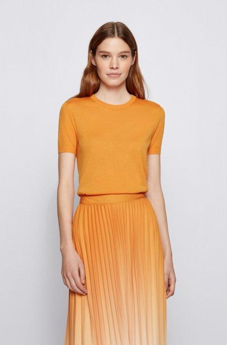 Short-sleeved sweater in virgin wool, Light Yellow