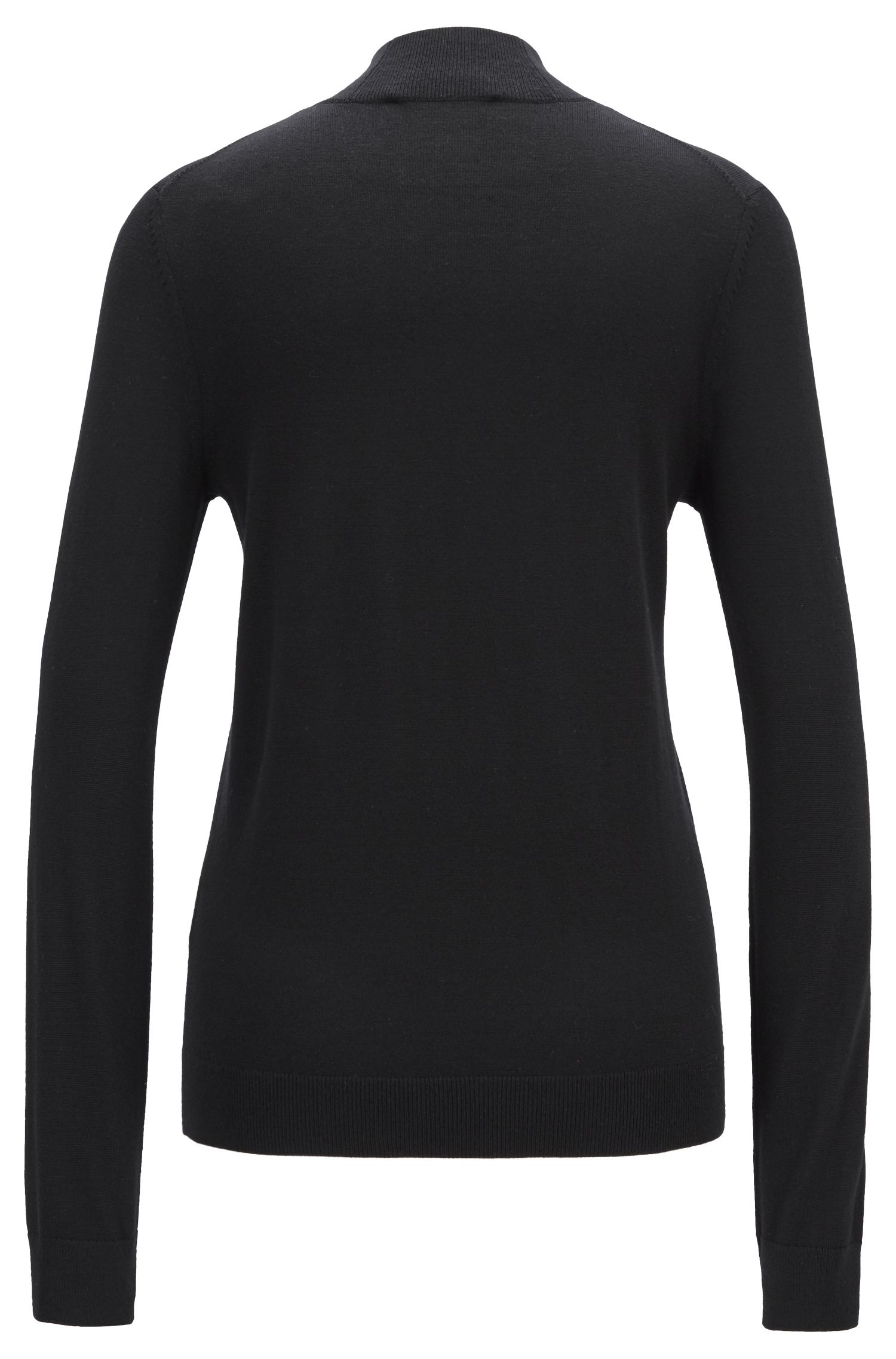 Regular-fit sweater in merino wool with mock neck, Black