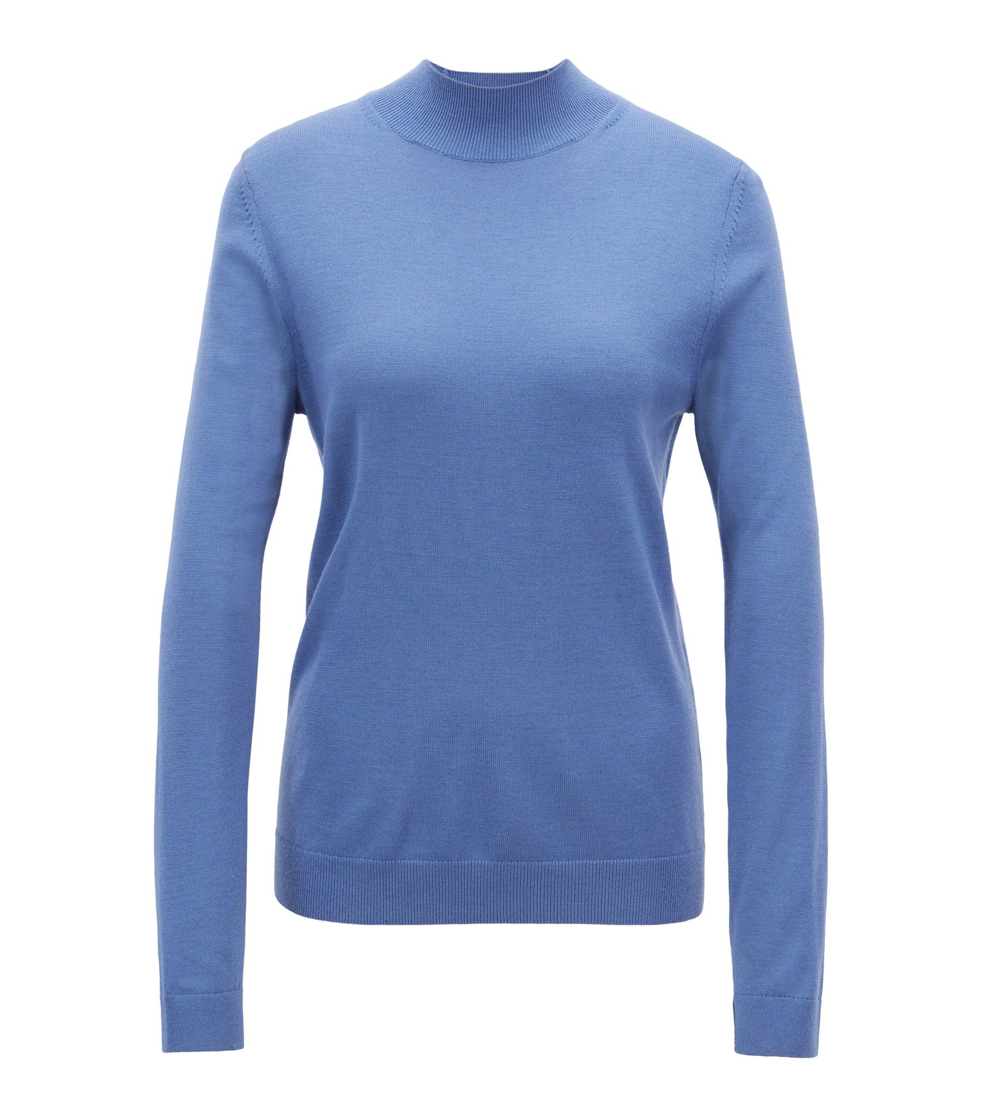 Regular-fit trui van merinowol met lage col, Blauw