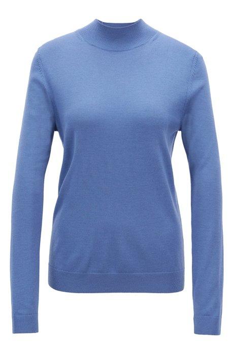 Pullover aus Merinowolle mit Stehkragen, Blau