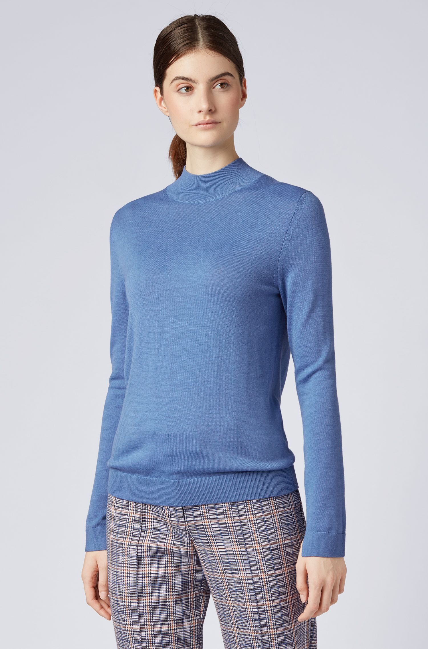 Regular-fit sweater in merino wool with mock neck, Blue