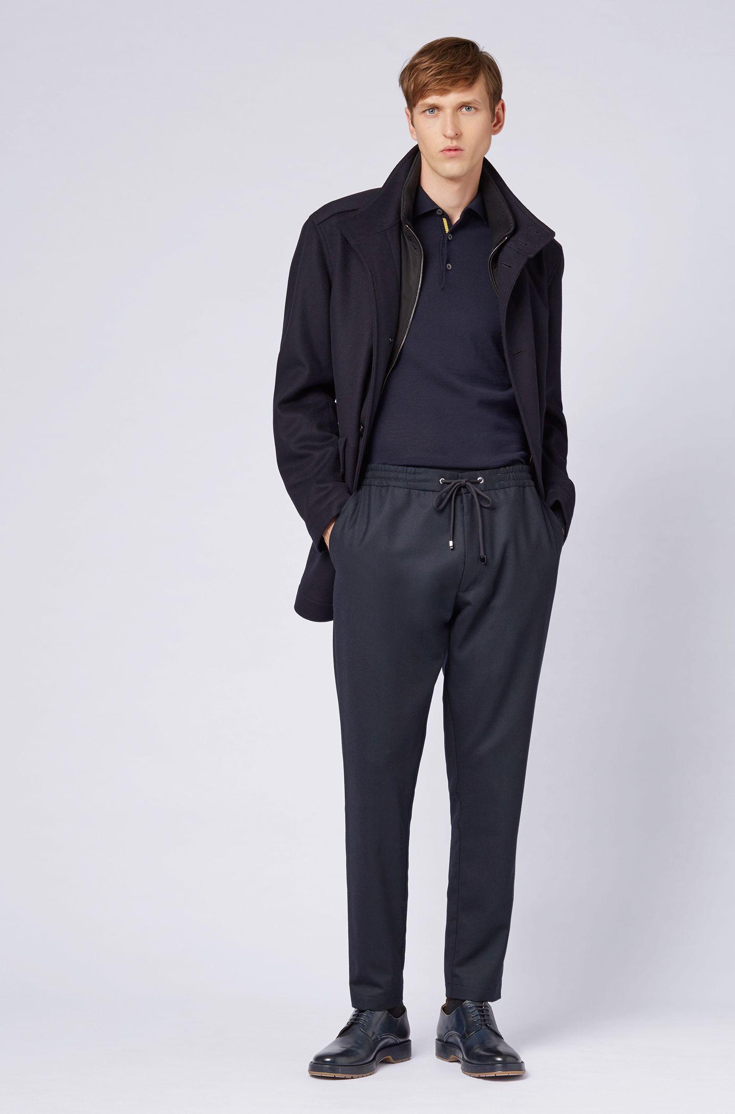 Relaxed-fit overjas van scheerwol en kasjmier, Donkerblauw