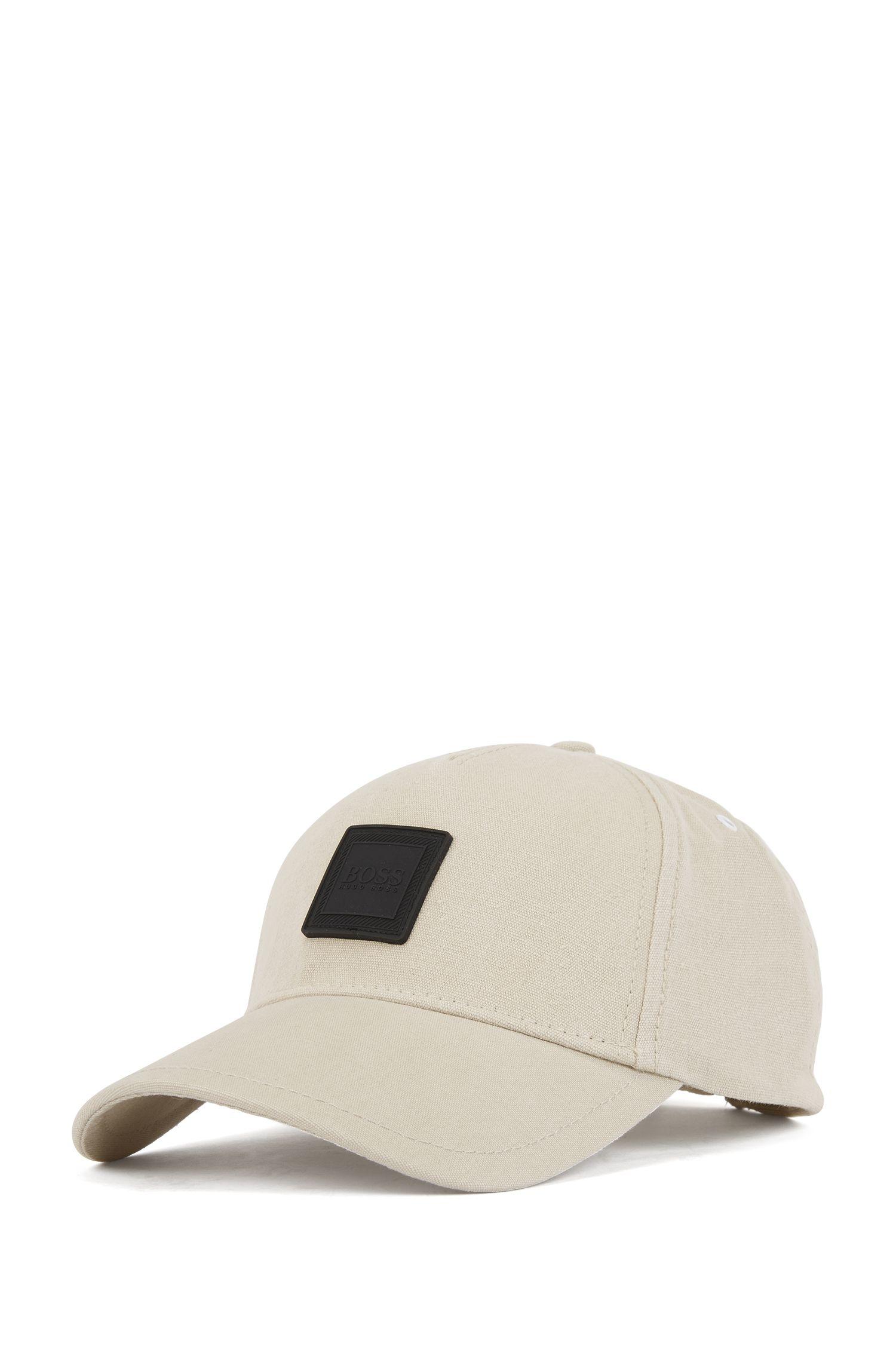 Stückgefärbte Cap aus Baumwolle mit Silikon-Logo, Grau