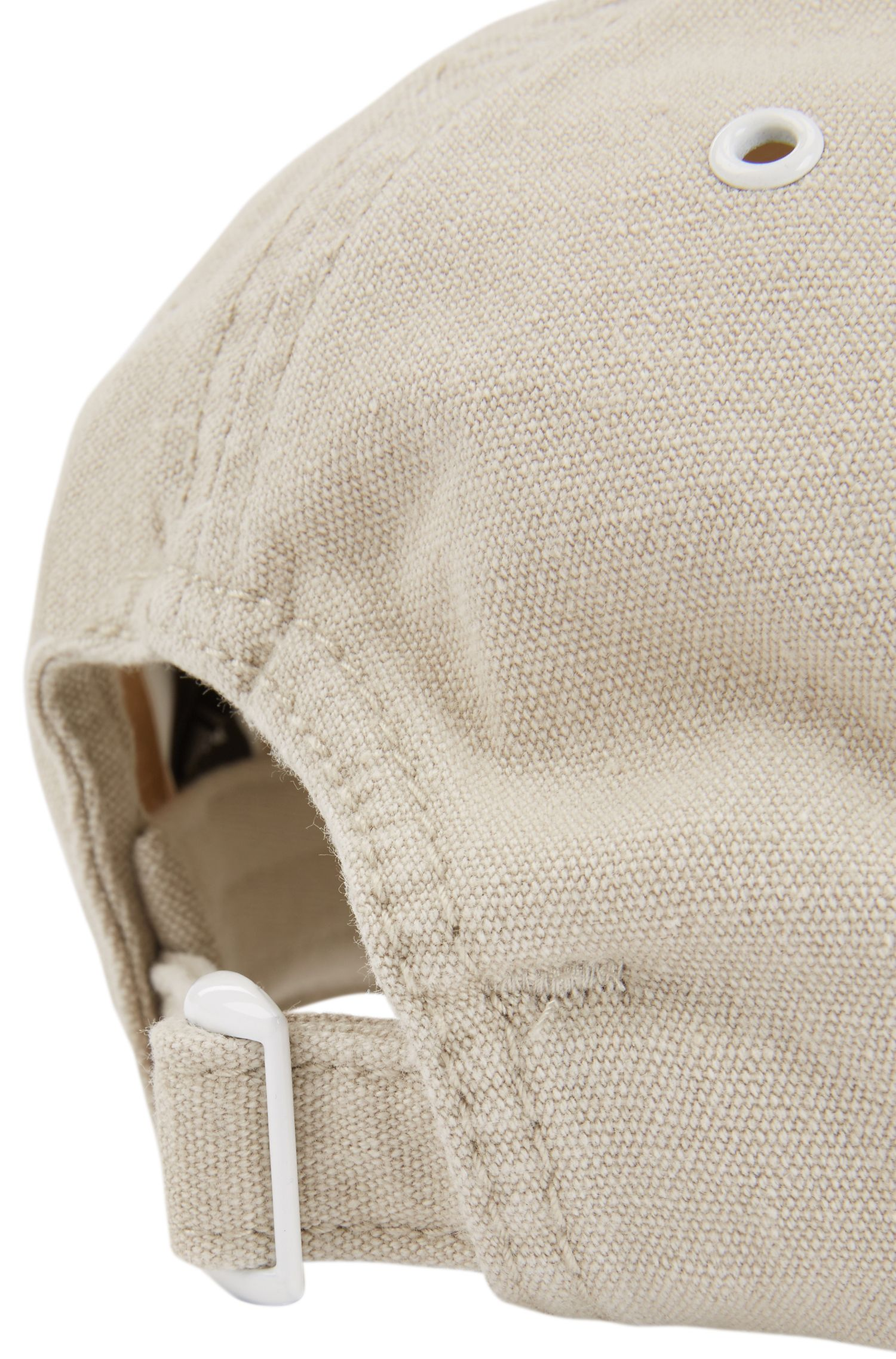 Casquette en coton teint en pièce avec étiquette logo en silicone, Gris