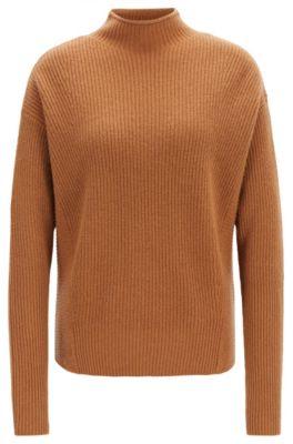 Relaxed-fit trui met opstaande kraag van zuiver kasjmier, Lichtbruin