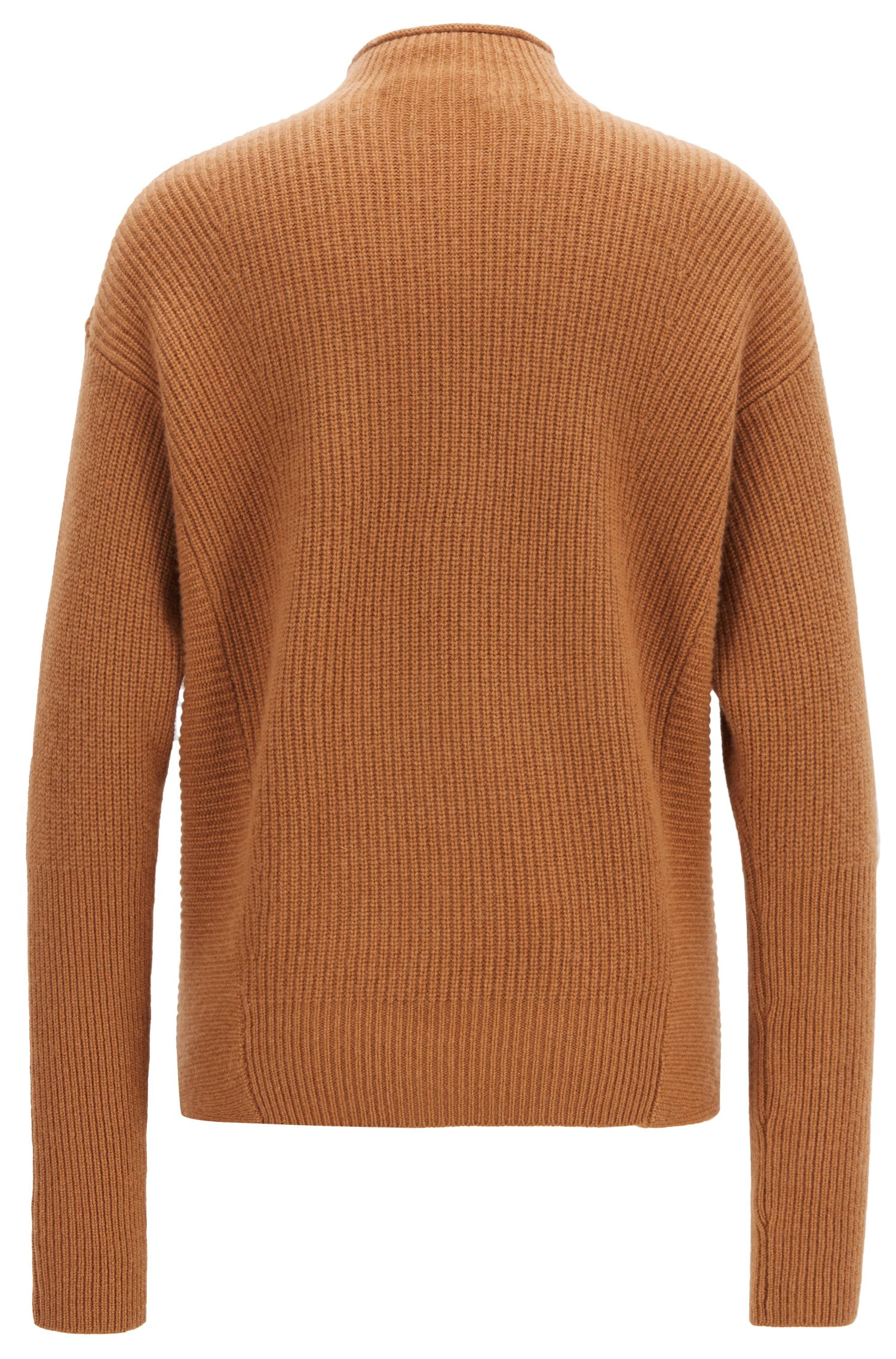 Relaxed-fit sweater in pure cashmere with funnel neck, Light Brown