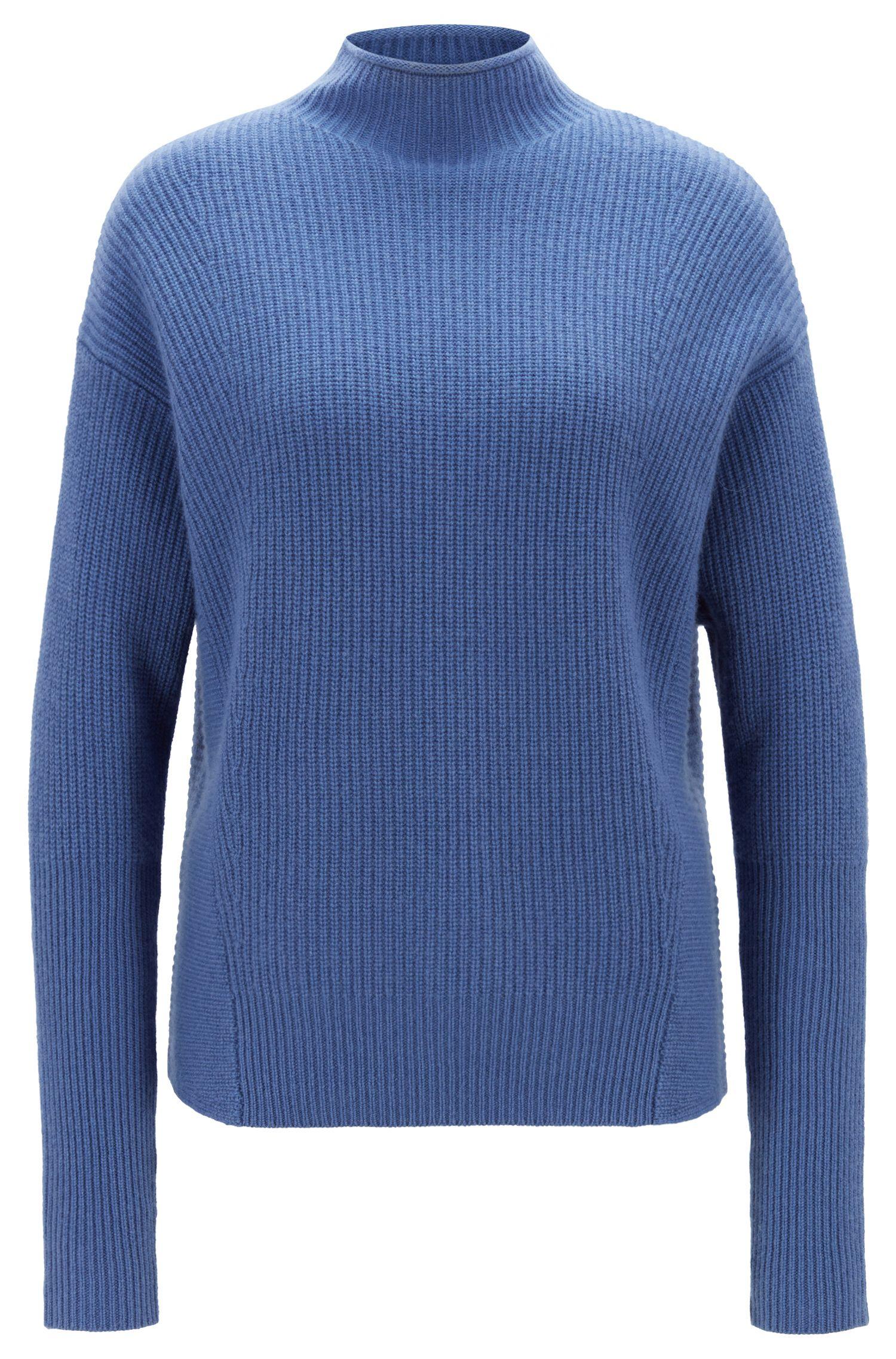Relaxed-fit trui met opstaande kraag van zuiver kasjmier, Blauw