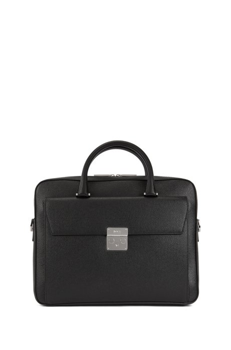 Signature Collection document case in printed Italian calf leather, Black