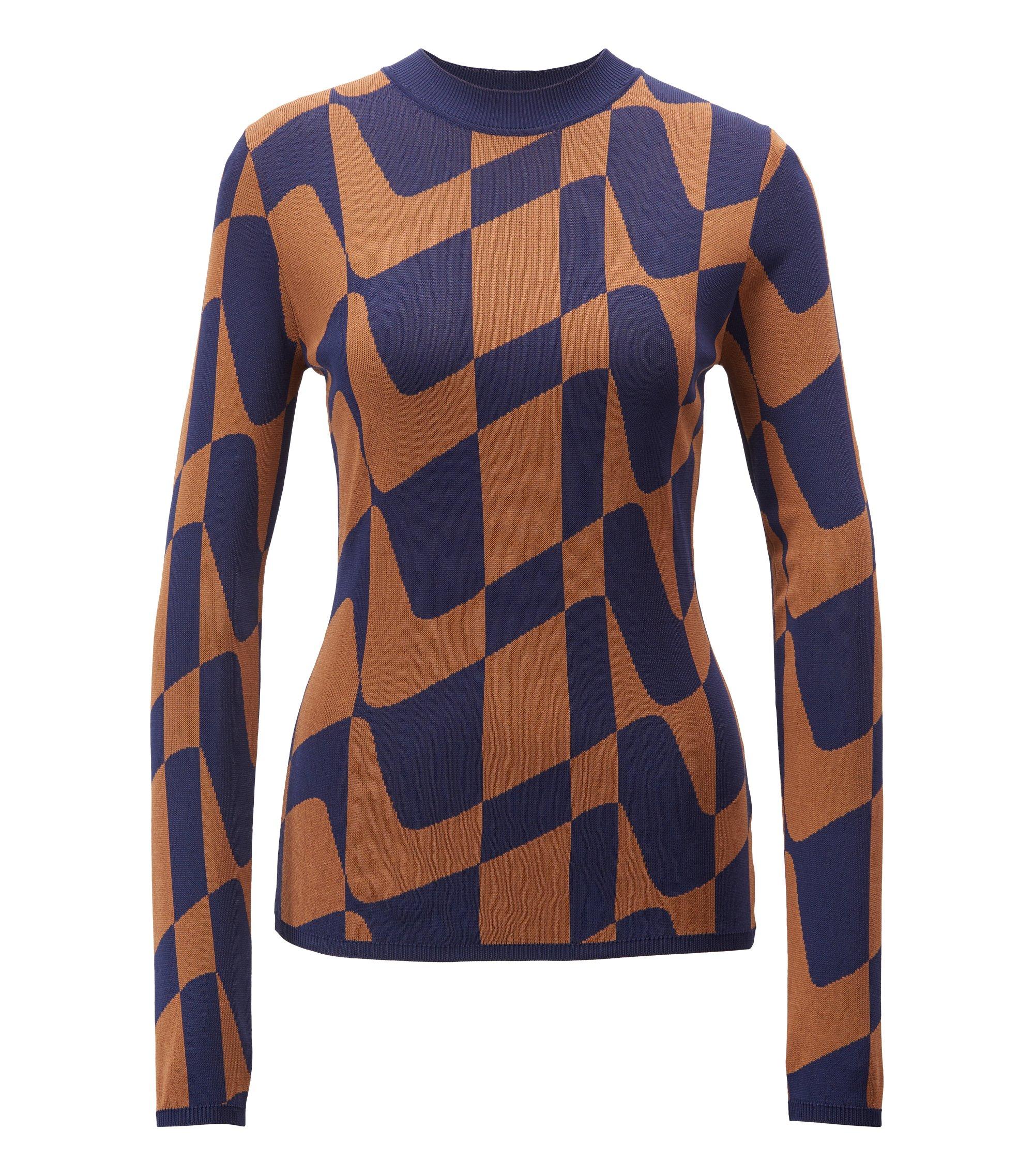 Slim-fit sweater in abstract Italian jacquard, Gemustert