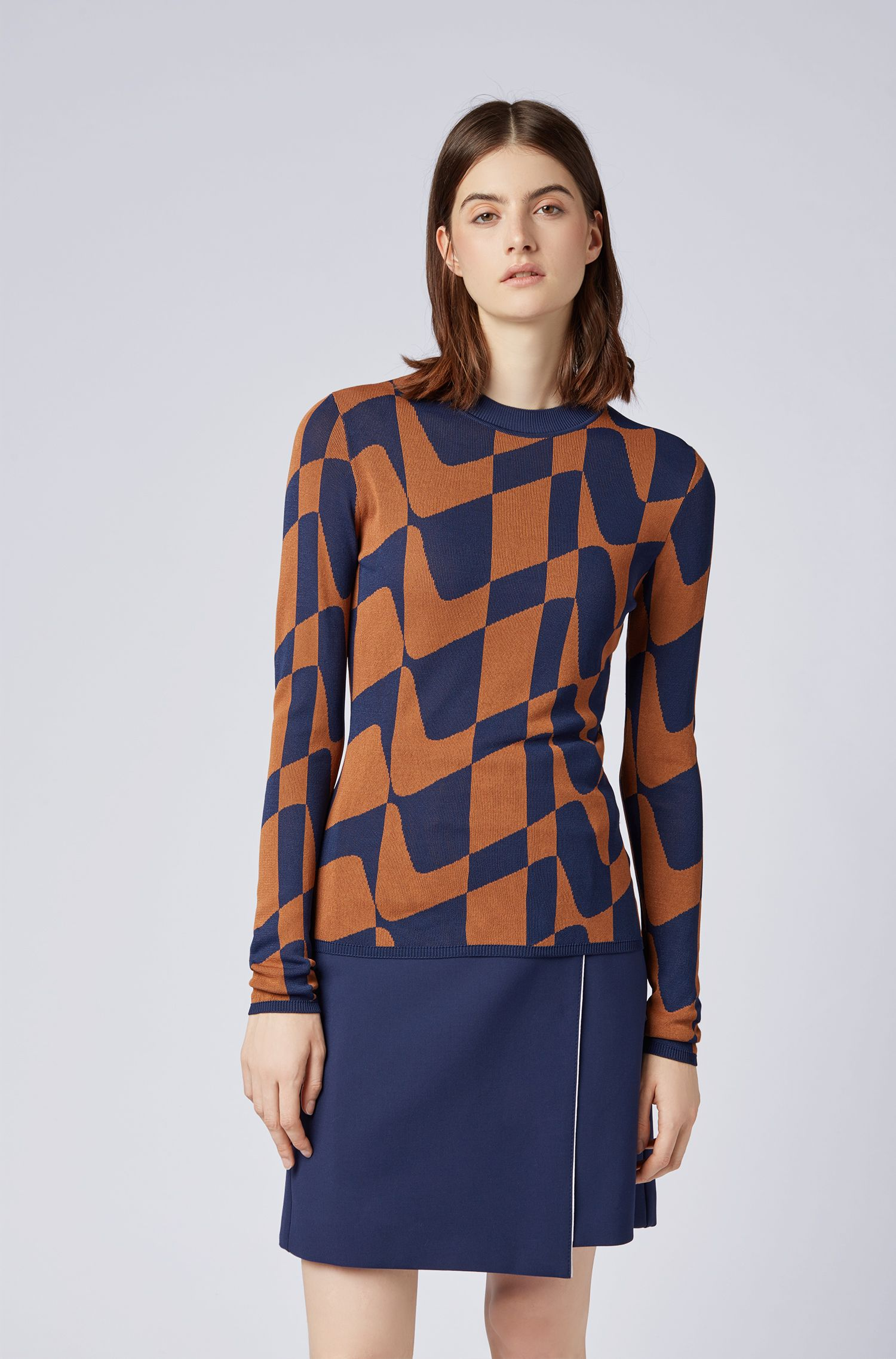 Slim-fit sweater in abstract Italian jacquard, Patterned