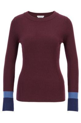 Slim-fit trui van scheerwol met colourblocking boorden, Bedrukt