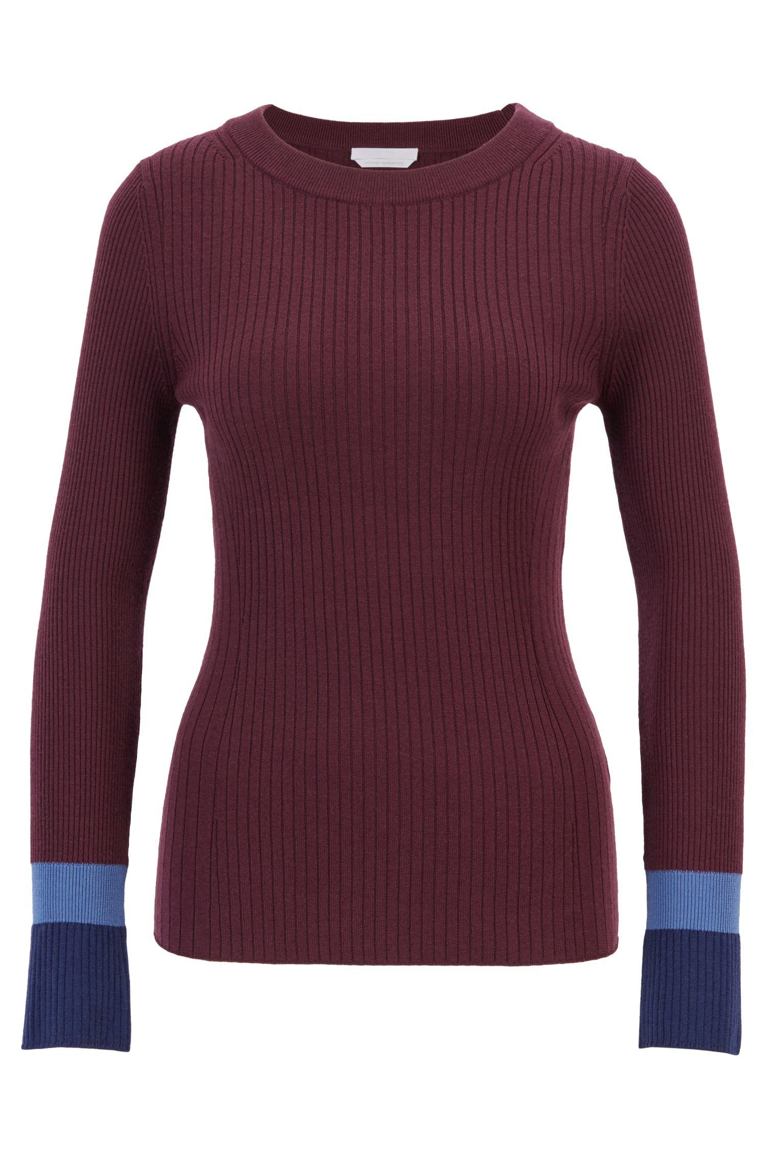 Jersey slim fit en lana virgen con bloques de color en los puños, Fantasía