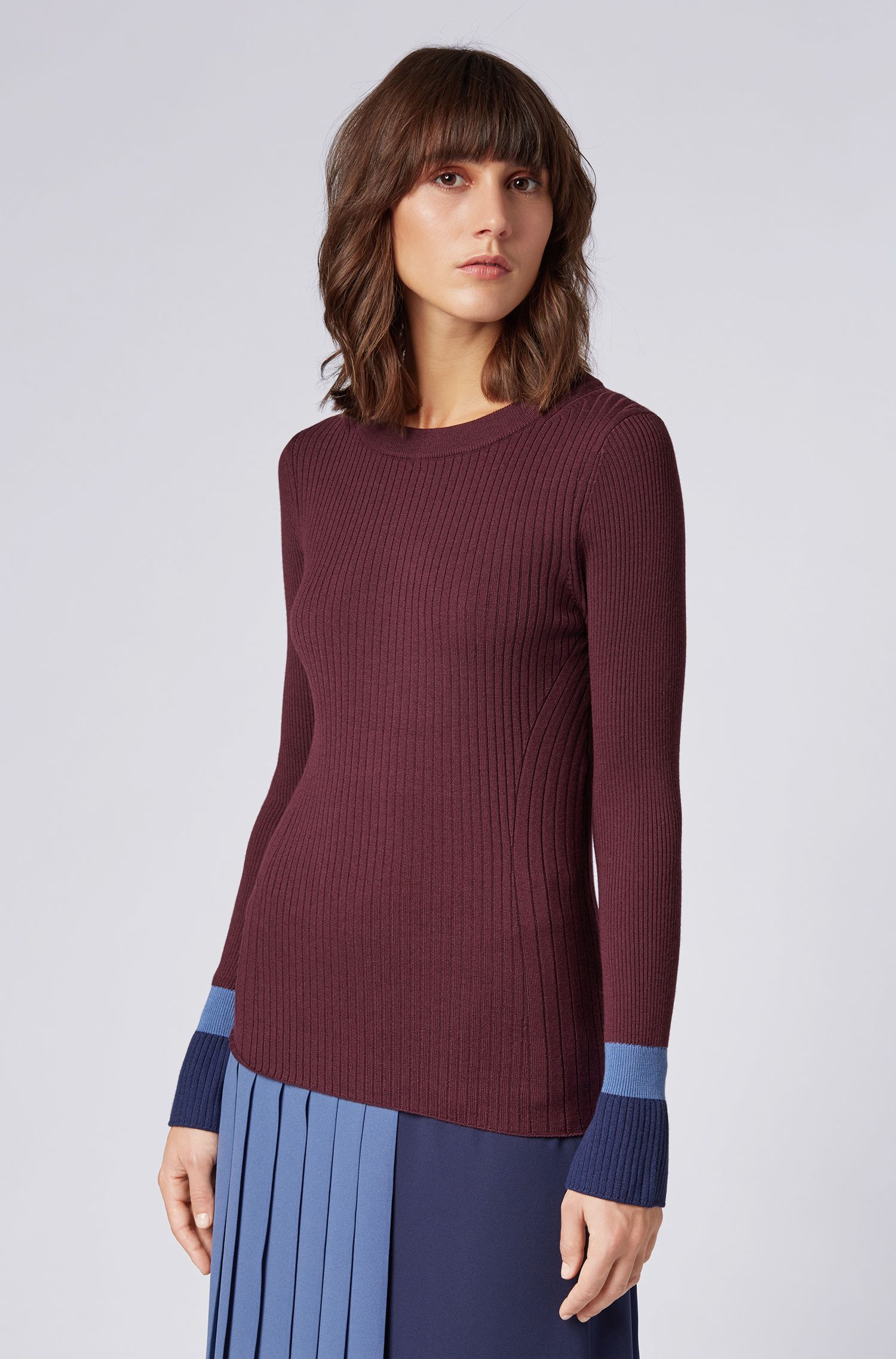 Slim-fit sweater in virgin wool with colourblock cuffs, Patterned