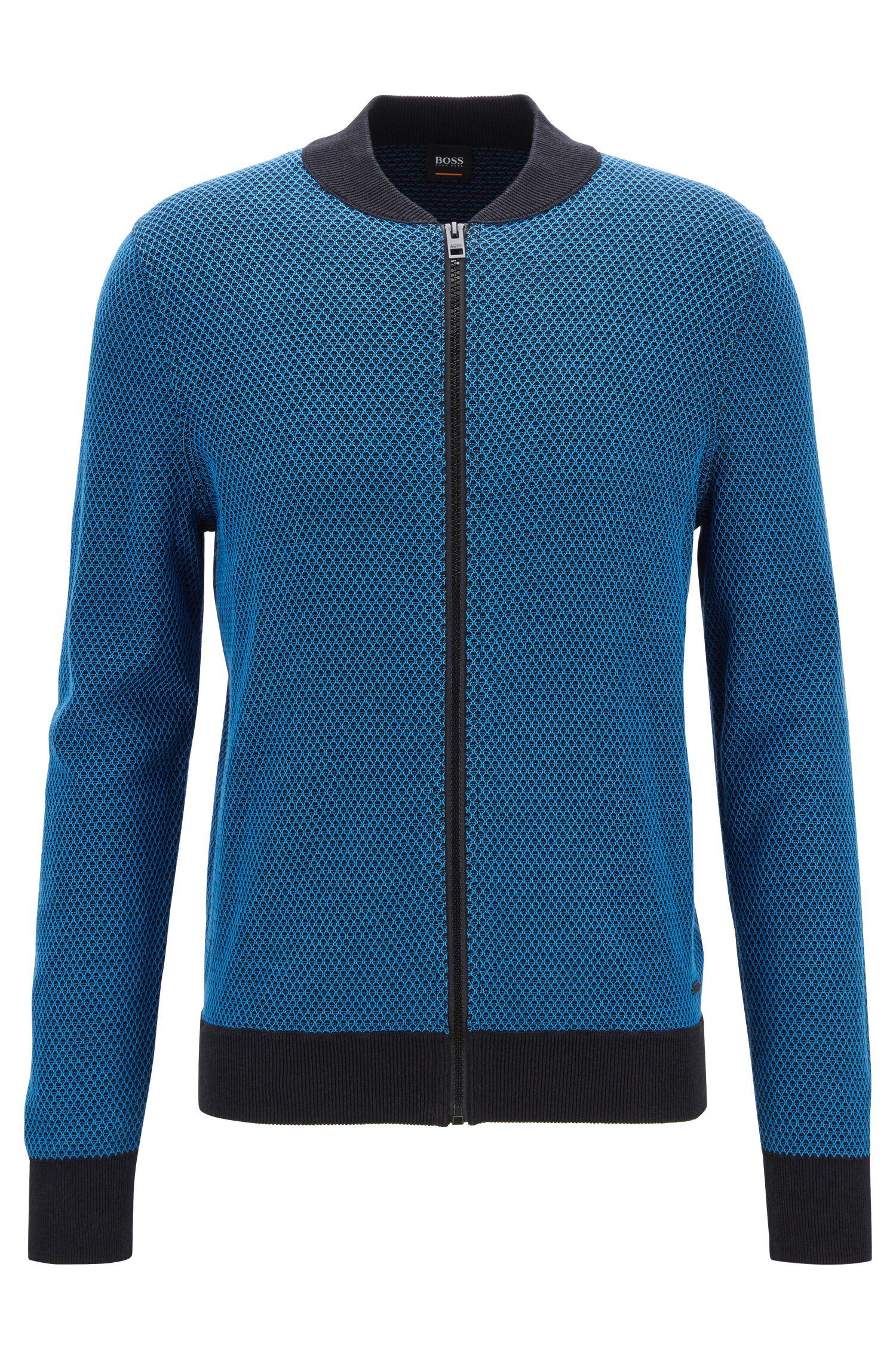 Veste en maille bicolore en coton et soie, Bleu
