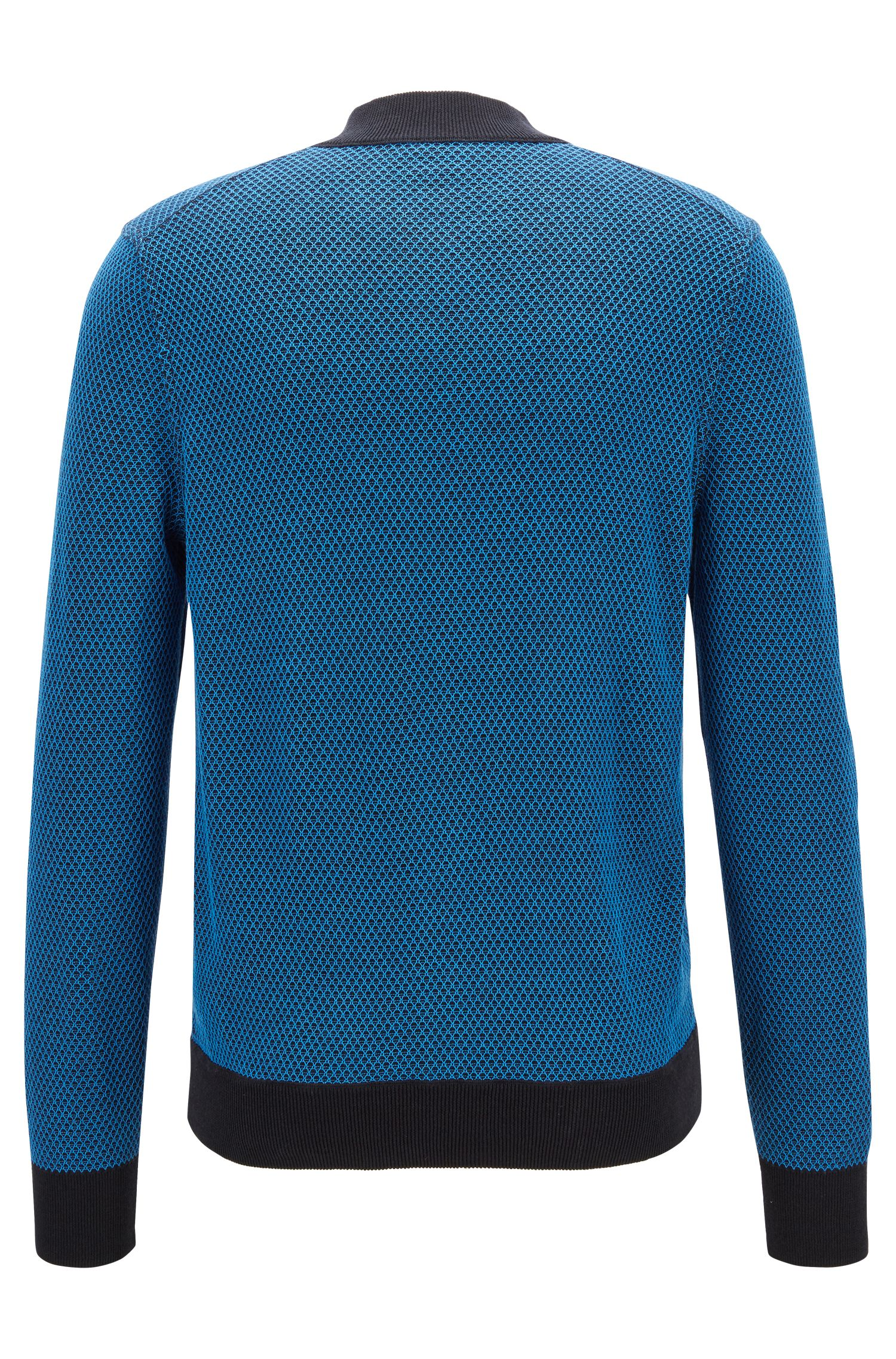 Two-tone knitted jacket in cotton and silk, Blue