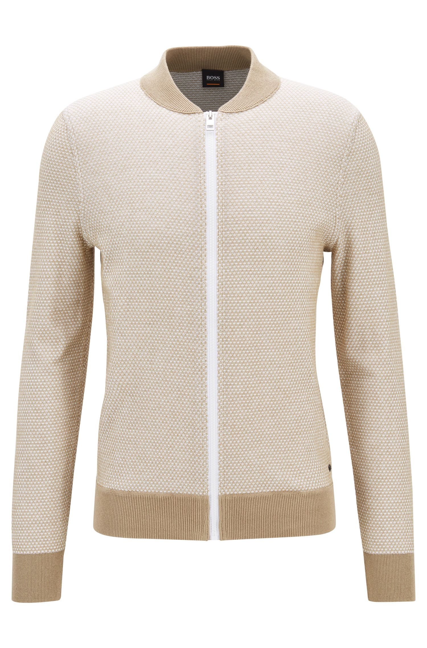 Two-tone knitted jacket in cotton and silk, Beige