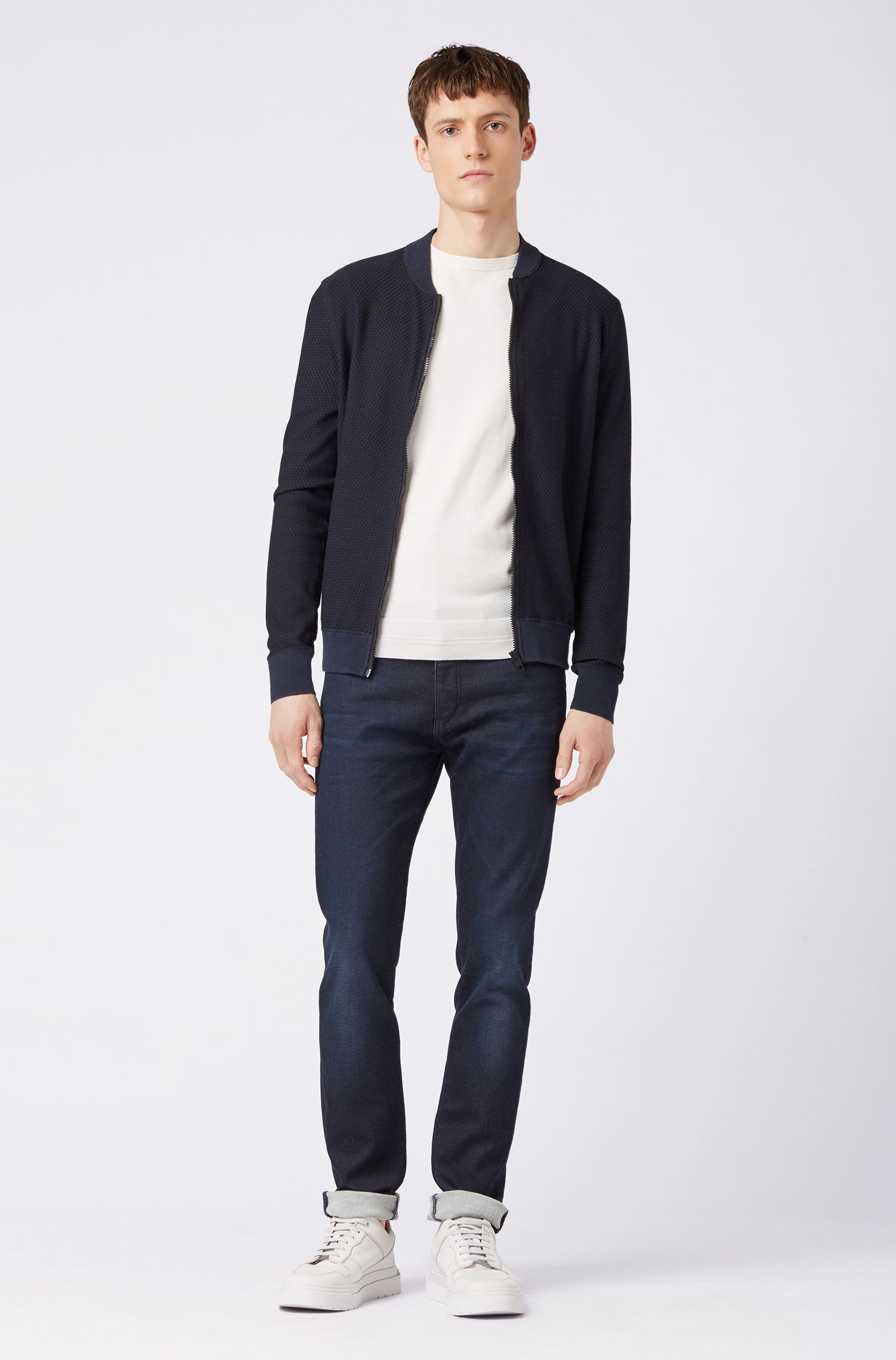 Two-tone knitted jacket in cotton and silk, Dark Blue