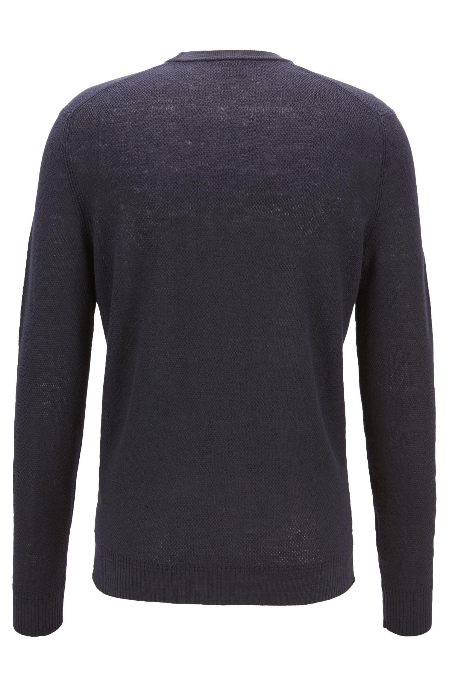 Maglione regular fit con logo sul petto, Blu scuro
