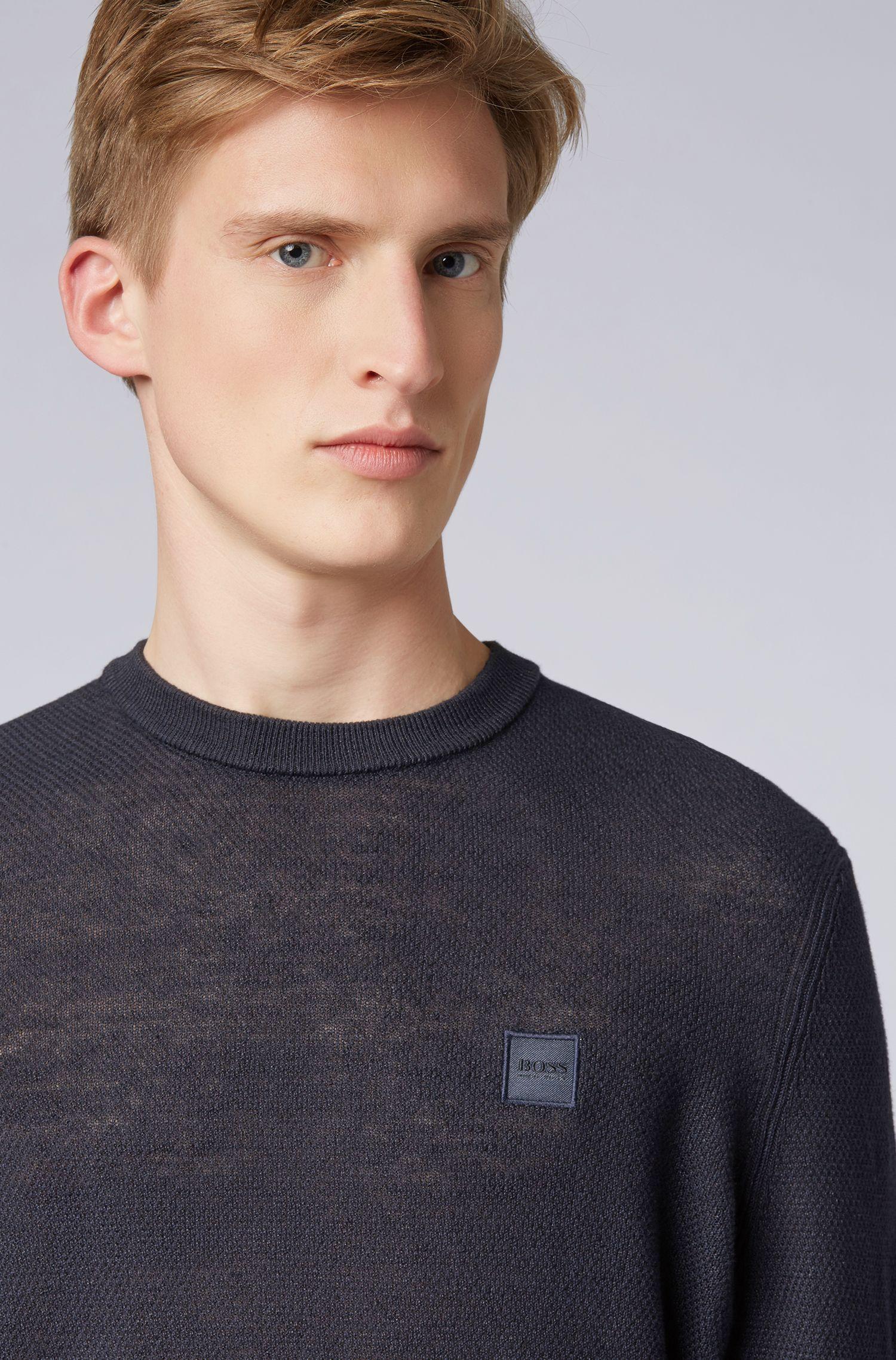 Pull en maille Regular Fit avec logo sur la poitrine, Bleu foncé