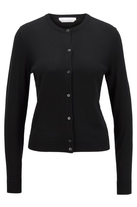 Crew-neck cardigan in virgin wool with button closure, Black