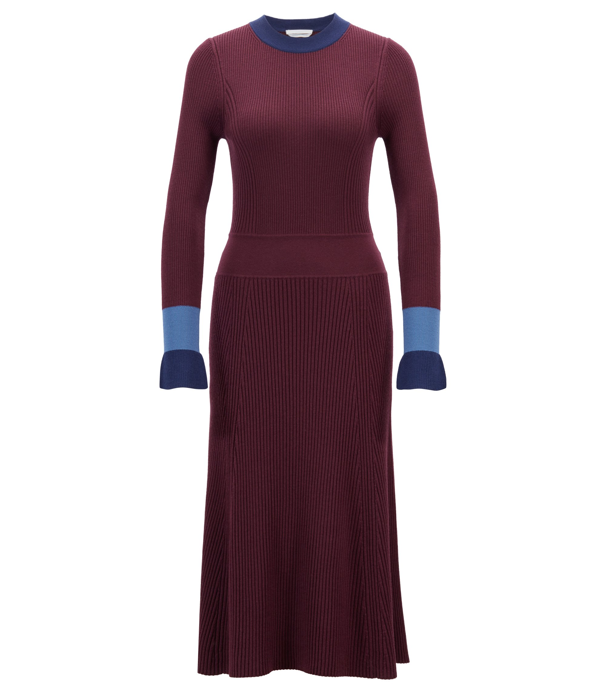 Knitted long-sleeved dress with colourblocking, Gemustert