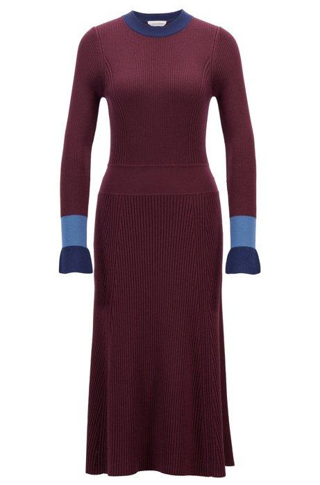 Strickkleid mit langen Ärmeln und Colour-Block-Design, Gemustert