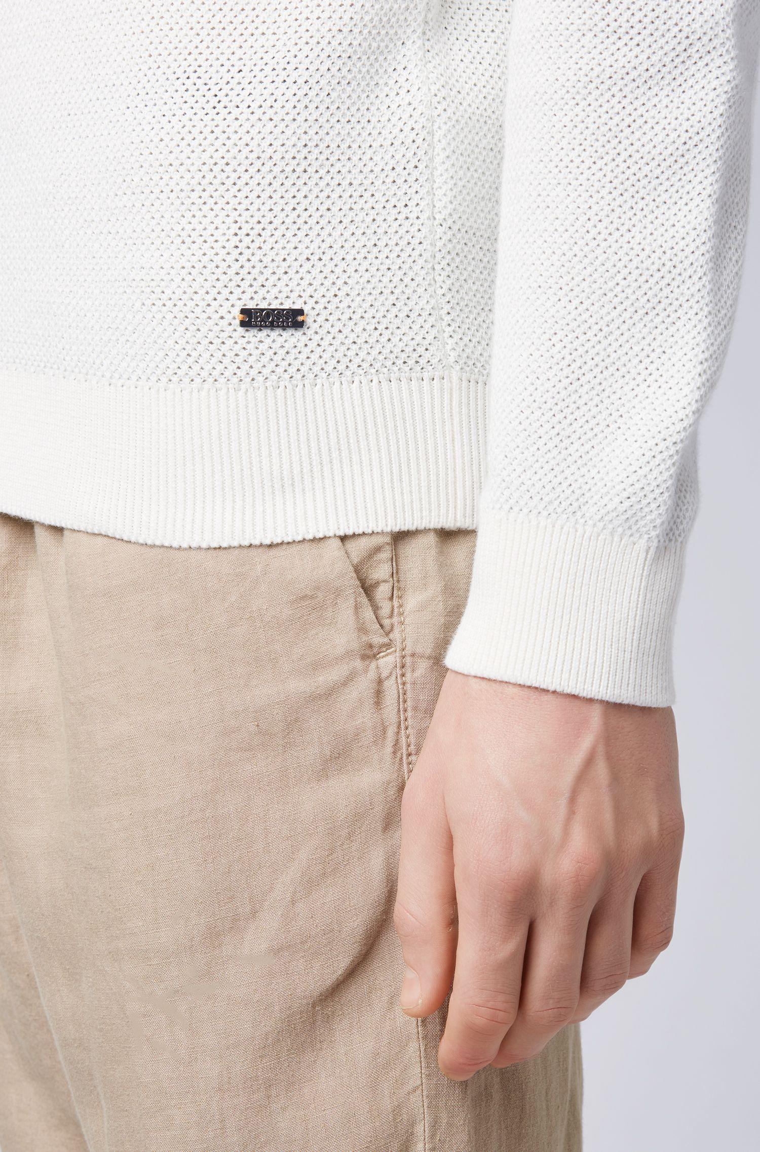 Maglione a girocollo in cotone microstrutturato realizzato in Italia, Bianco