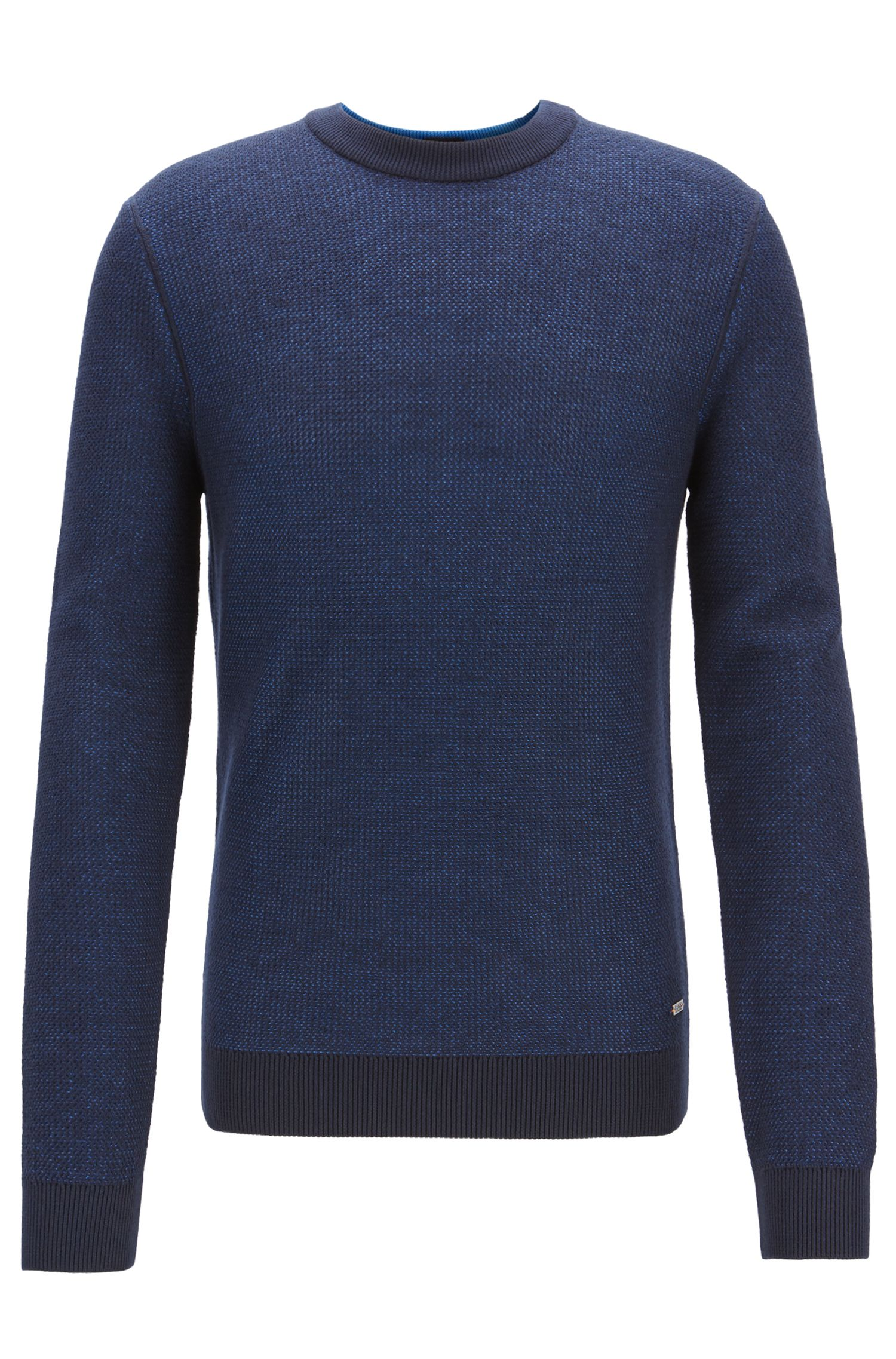 Crew-neck sweater in micro-structured Italian cotton, Dark Blue