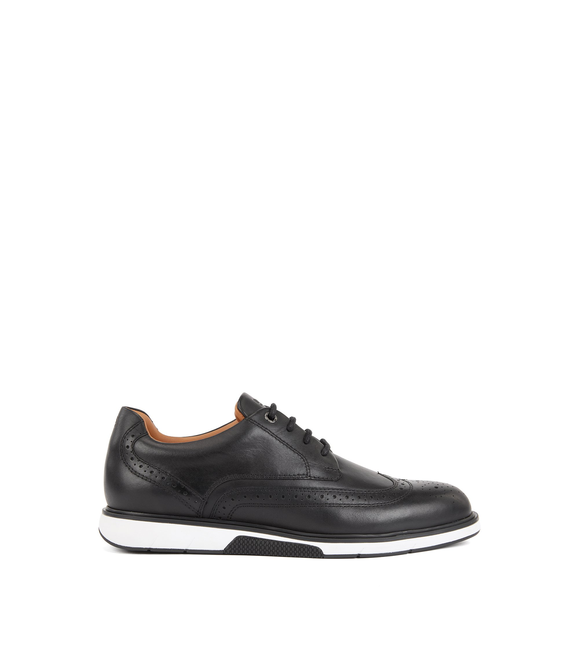Leather Derby shoes with trainer-style sole, Zwart