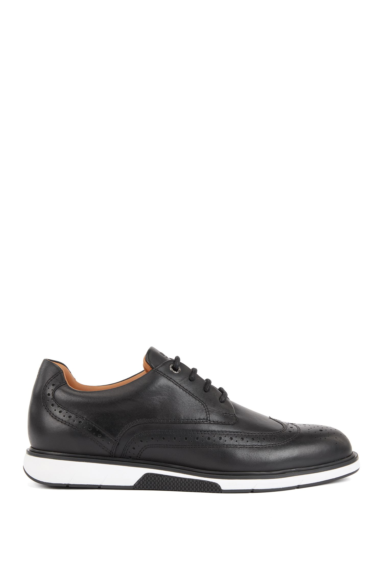 Leather Derby shoes with trainer-style sole, Black