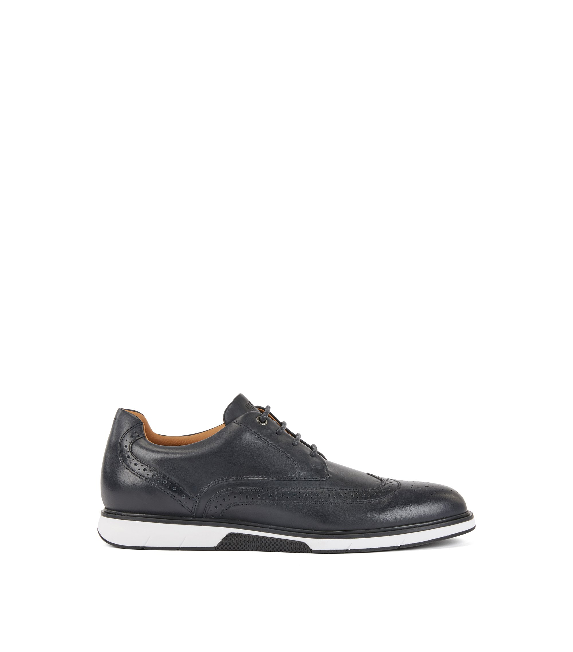 Leather Derby shoes with trainer-style sole, Bleu foncé