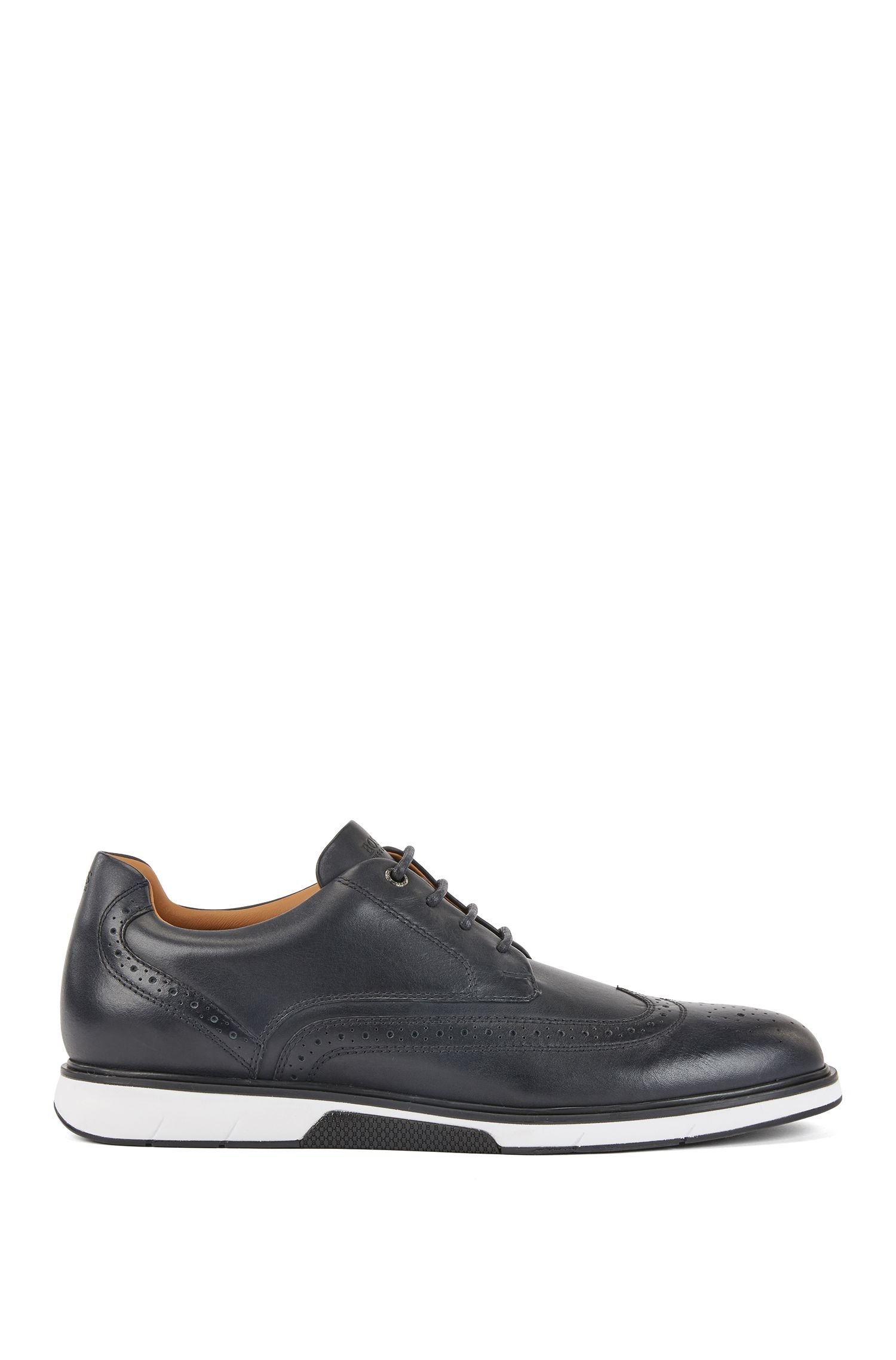 Leather Derby shoes with trainer-style sole, Dunkelblau