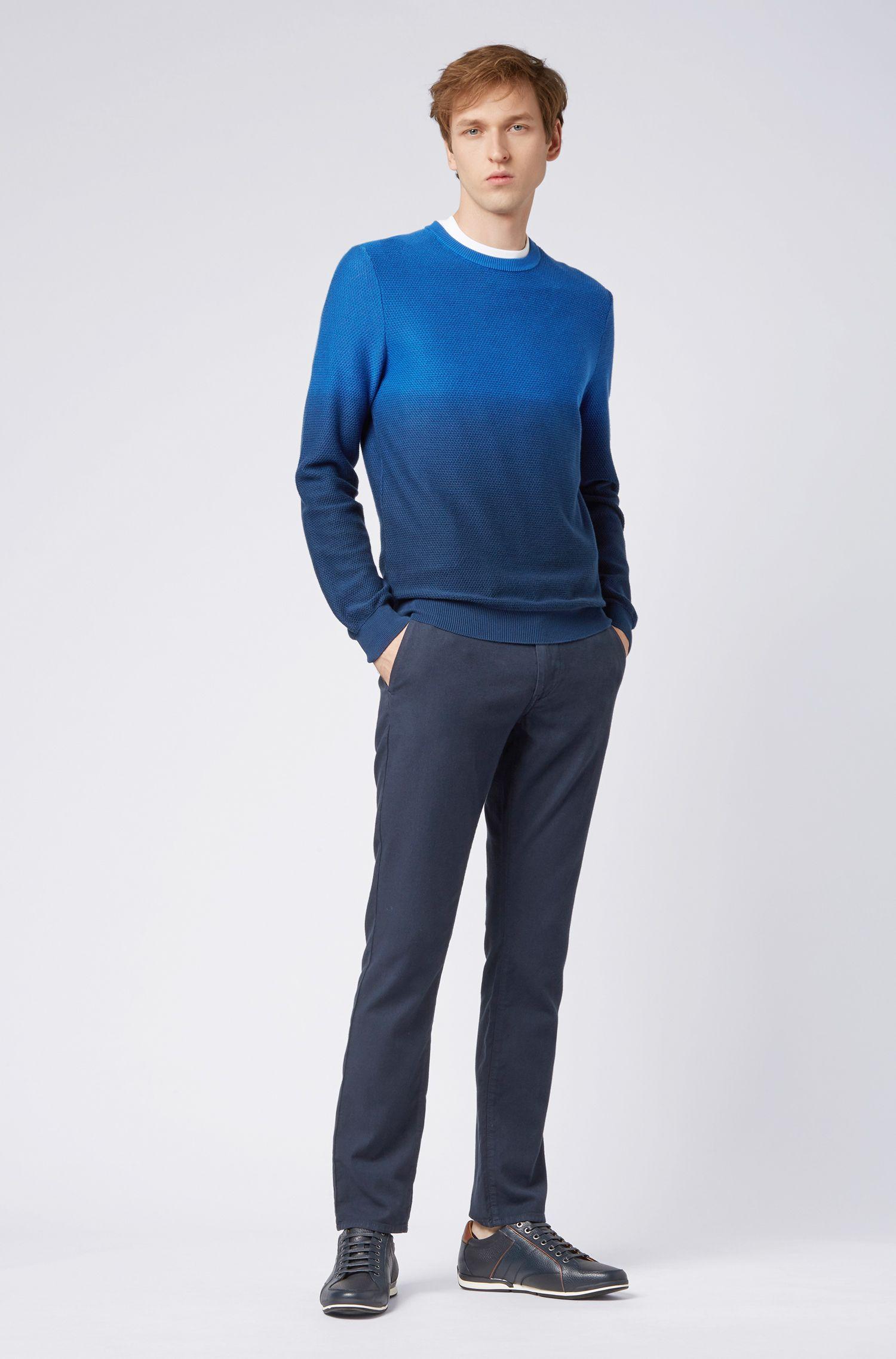 Regular-fit dégradé trui van een gestructureerde katoenmix, Donkerblauw