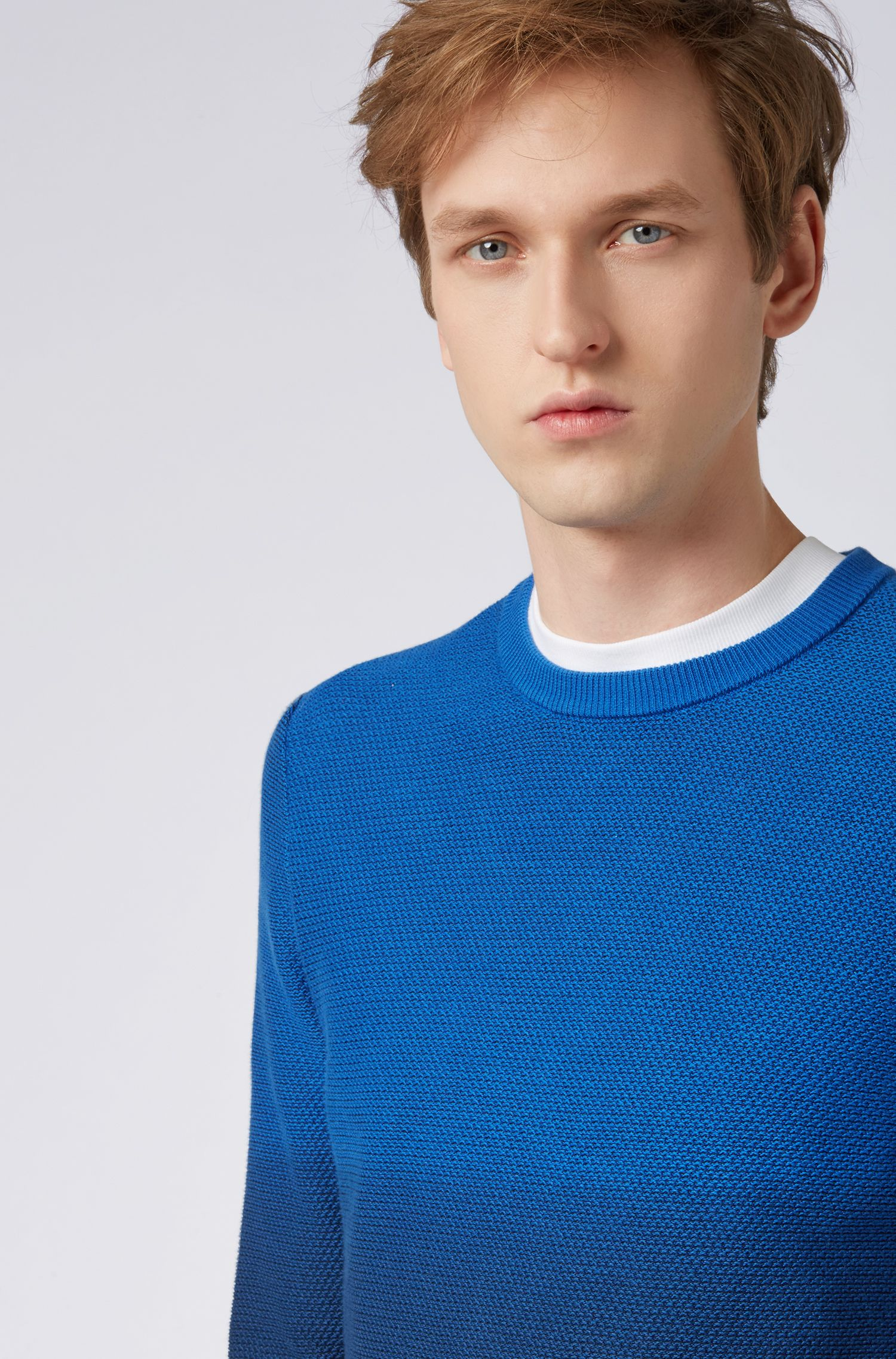 Regular-fit degradé sweater in a structured cotton blend, Dark Blue