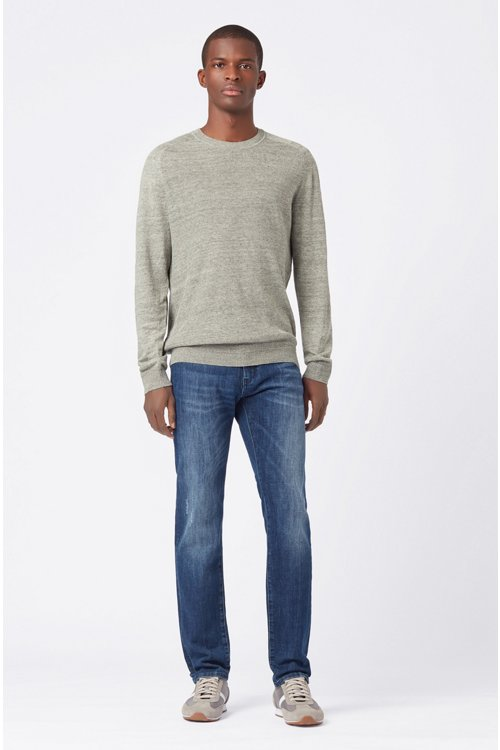 Hugo Boss - Micro-structured sweater in melange linen with ottoman detailing - 2