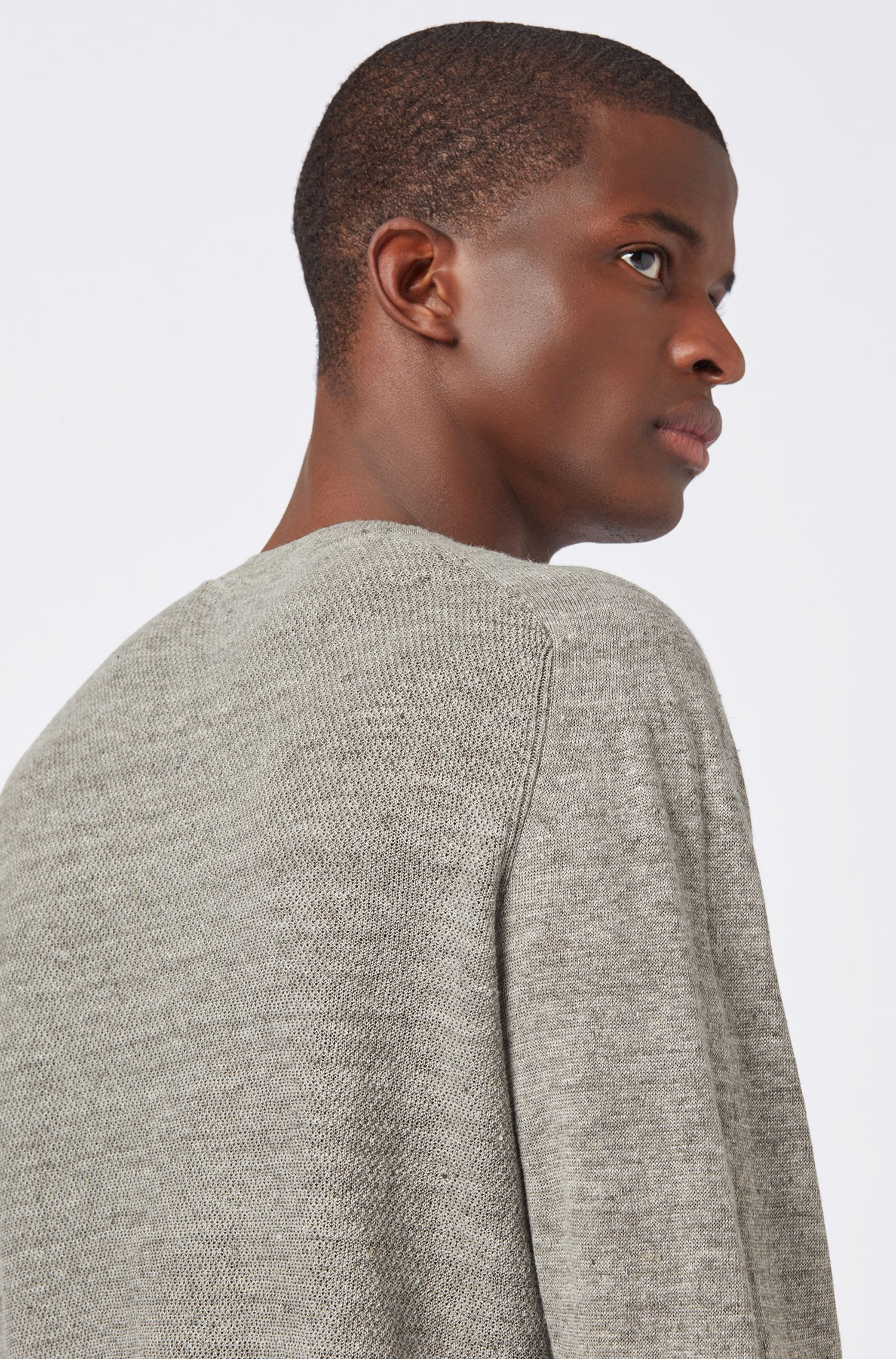 Micro-structured sweater in melange linen with ottoman detailing, Light Grey