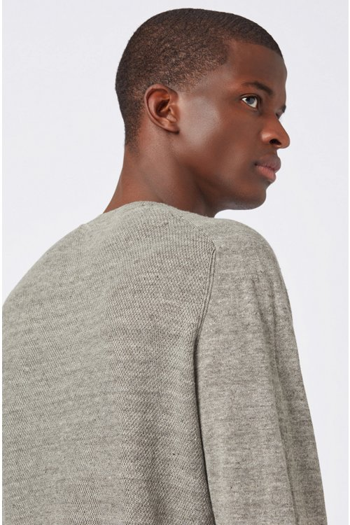 Hugo Boss - Micro-structured sweater in melange linen with ottoman detailing - 3
