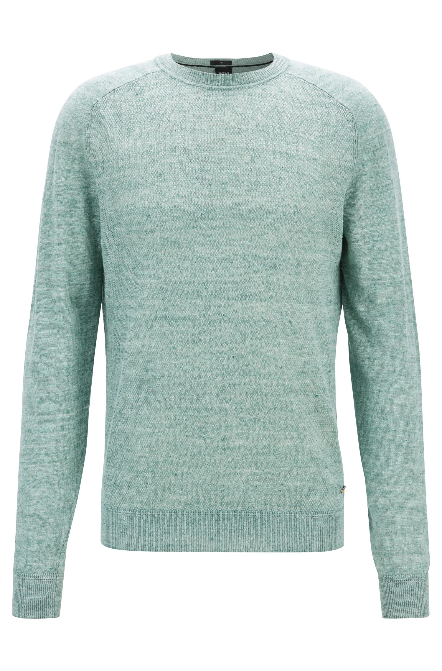 Micro-structured sweater in melange linen with ottoman detailing, Light Green