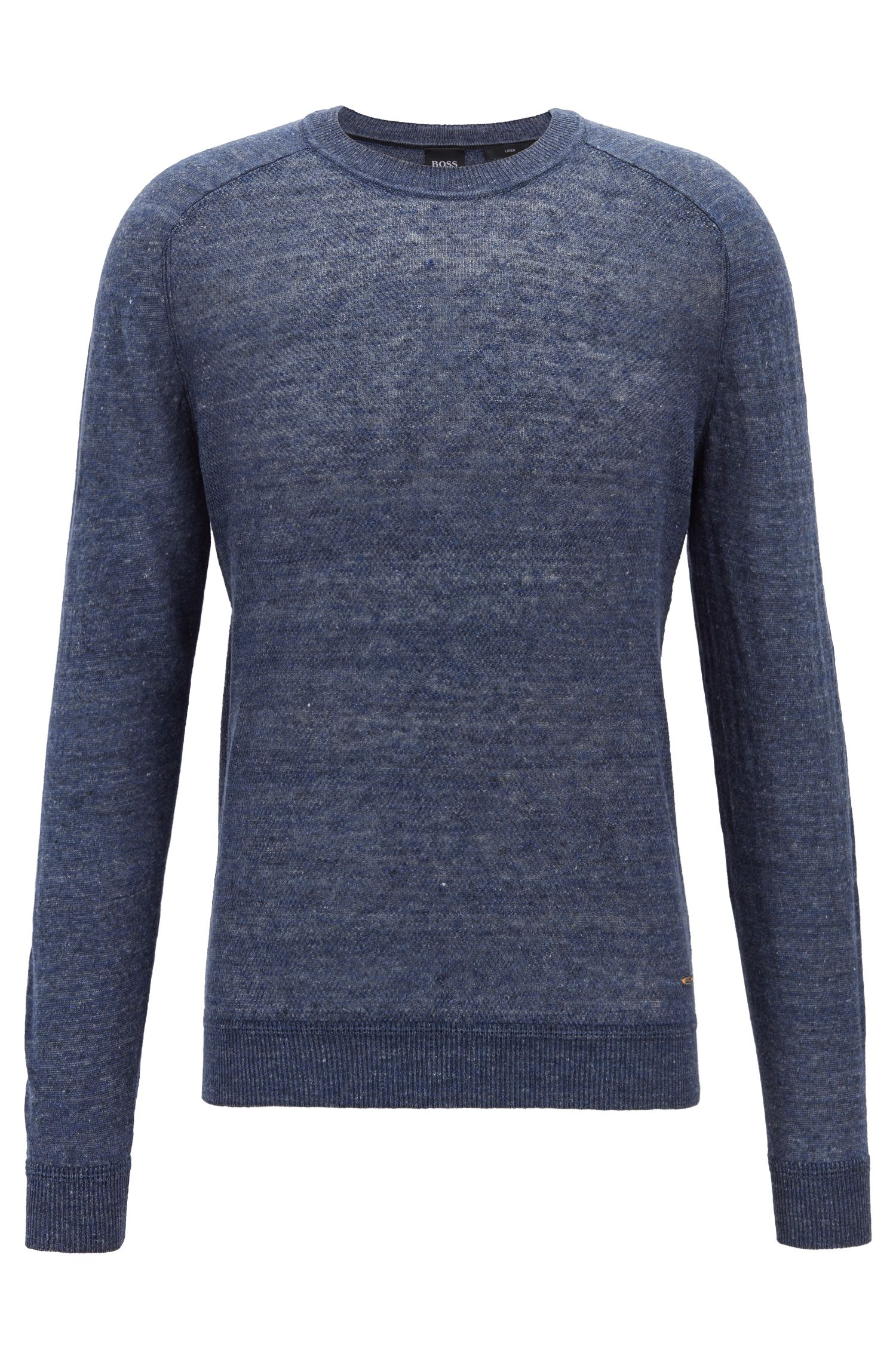 Micro-structured sweater in melange linen with ottoman detailing, Dark Blue