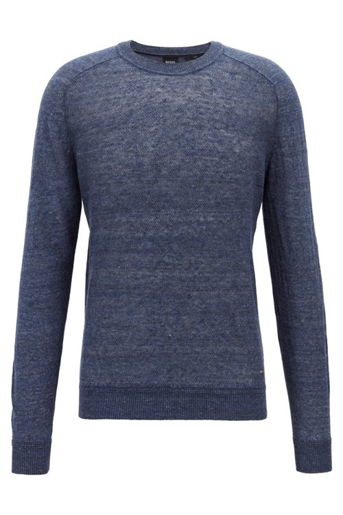 Hugo Boss - Micro-structured sweater in melange linen with ottoman detailing - 1