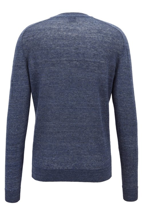 Hugo Boss - Micro-structured sweater in melange linen with ottoman detailing - 4