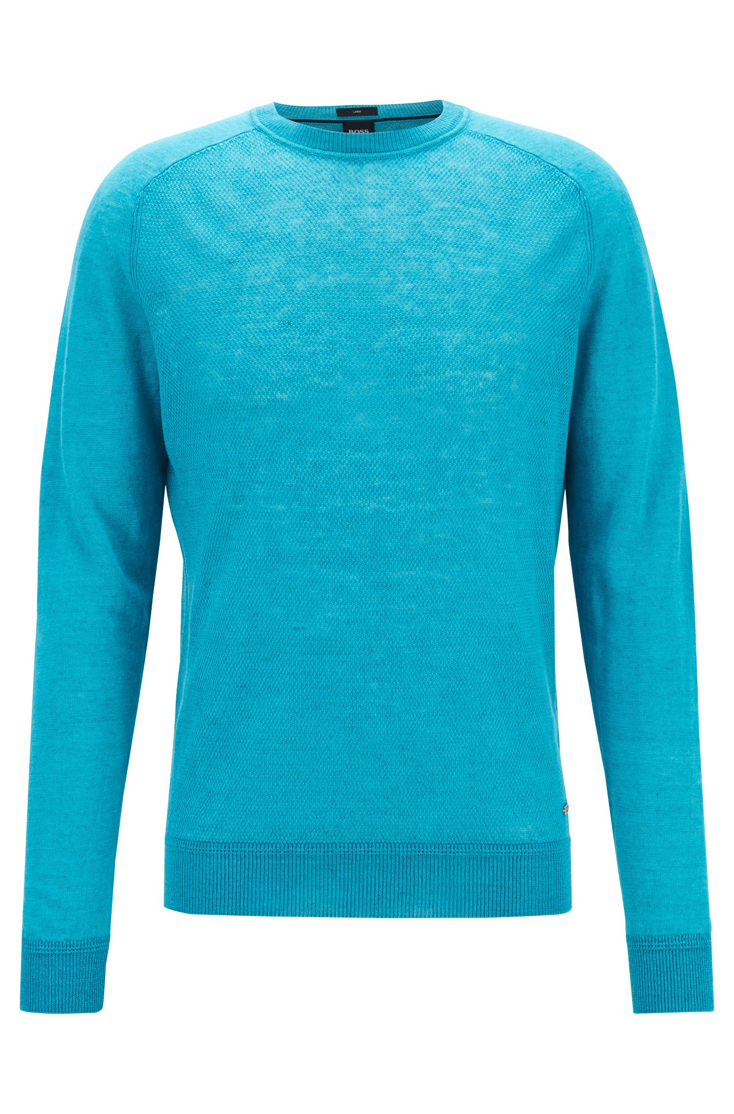 Micro-structured sweater in melange linen with ottoman detailing, Turquoise