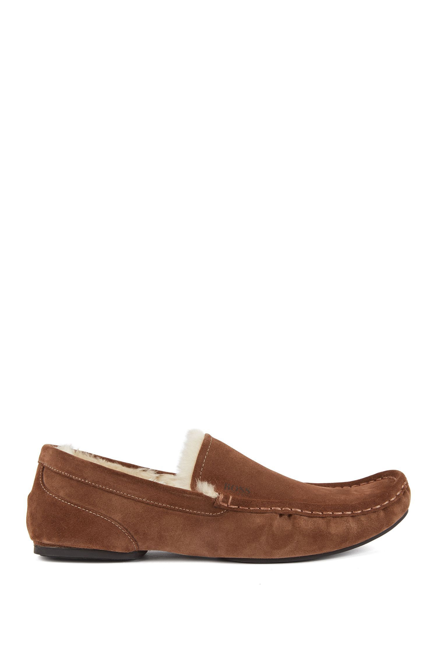 Slip-on moccasins in suede with a rubber sole, Brown