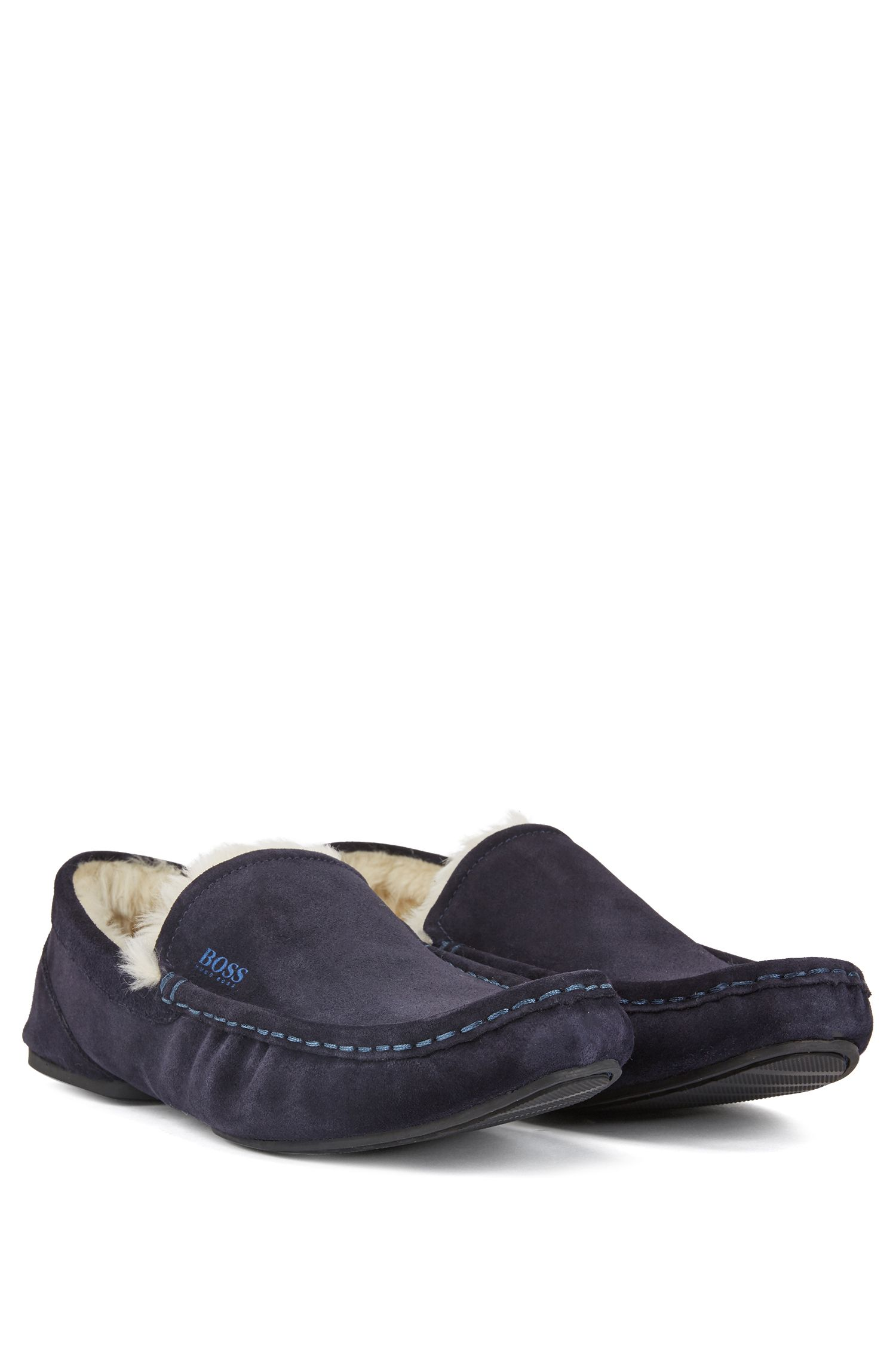 Slip-on moccasins in suede with a rubber sole, Dark Blue