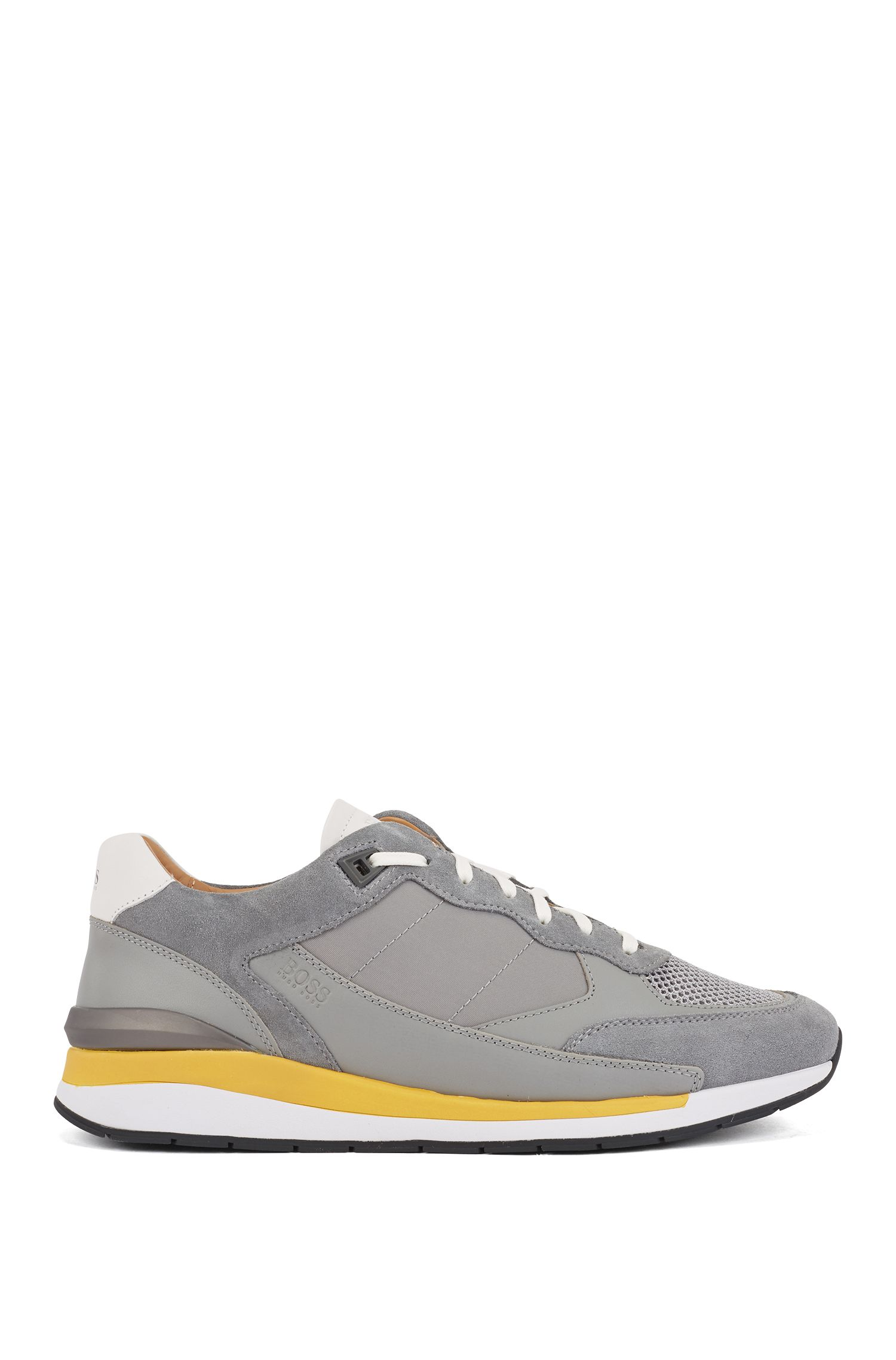 Low-top trainers with hybrid uppers and mesh details, Dark Grey